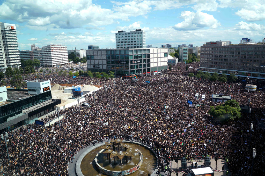 Protesters participate in a rally to show solidarity with the Black Lives Matter movement at Alexanderplatz on June 6, 2020 in Berlin, Germany.
