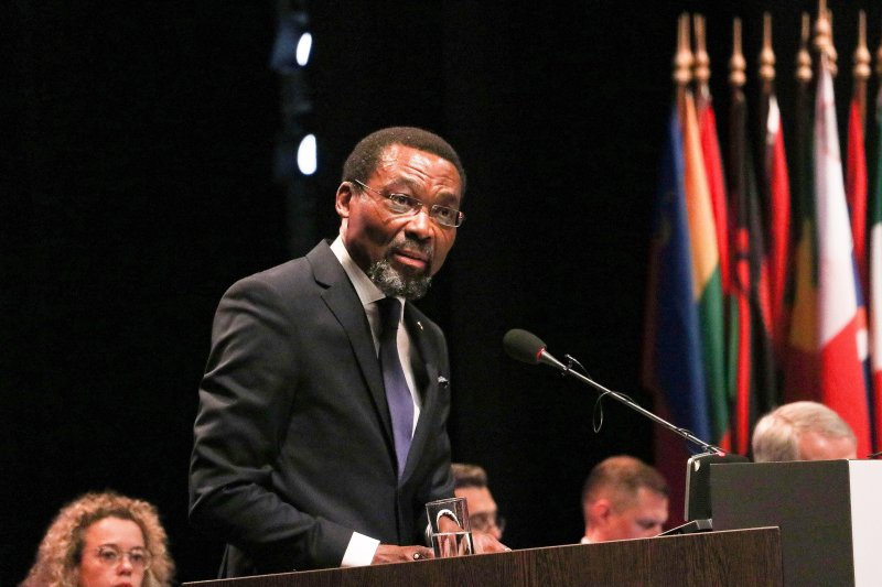 Judge Chile Eboe-Osuji, President of the International Criminal Court makes a speech during the 18th session of the ICCs Assembly of States Parties, in The Hague, Netherlands on Dec. 2, 2019.