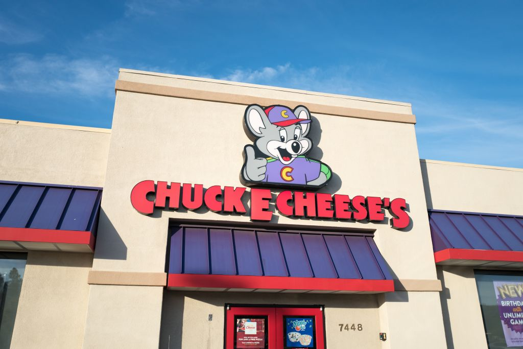 Logo and sign on facade of Chuck E Cheese's children's activity company in Dublin, California, July 23, 2018.