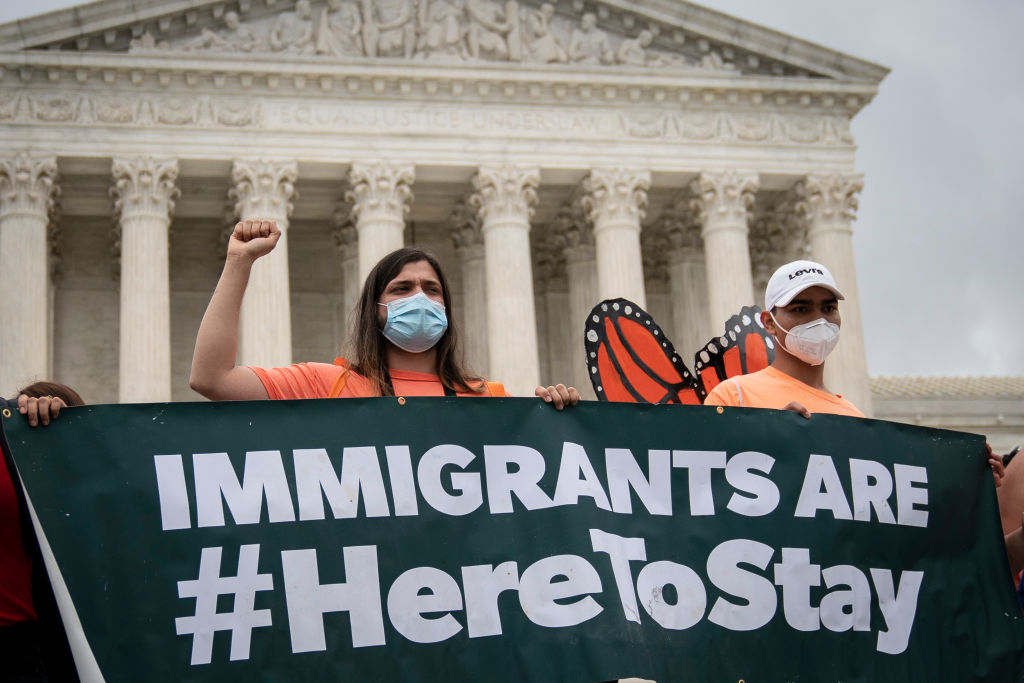 DACA recipients and their supporters rally outside the U.S. Supreme Court on June 18, 2020 in Washington, DC.