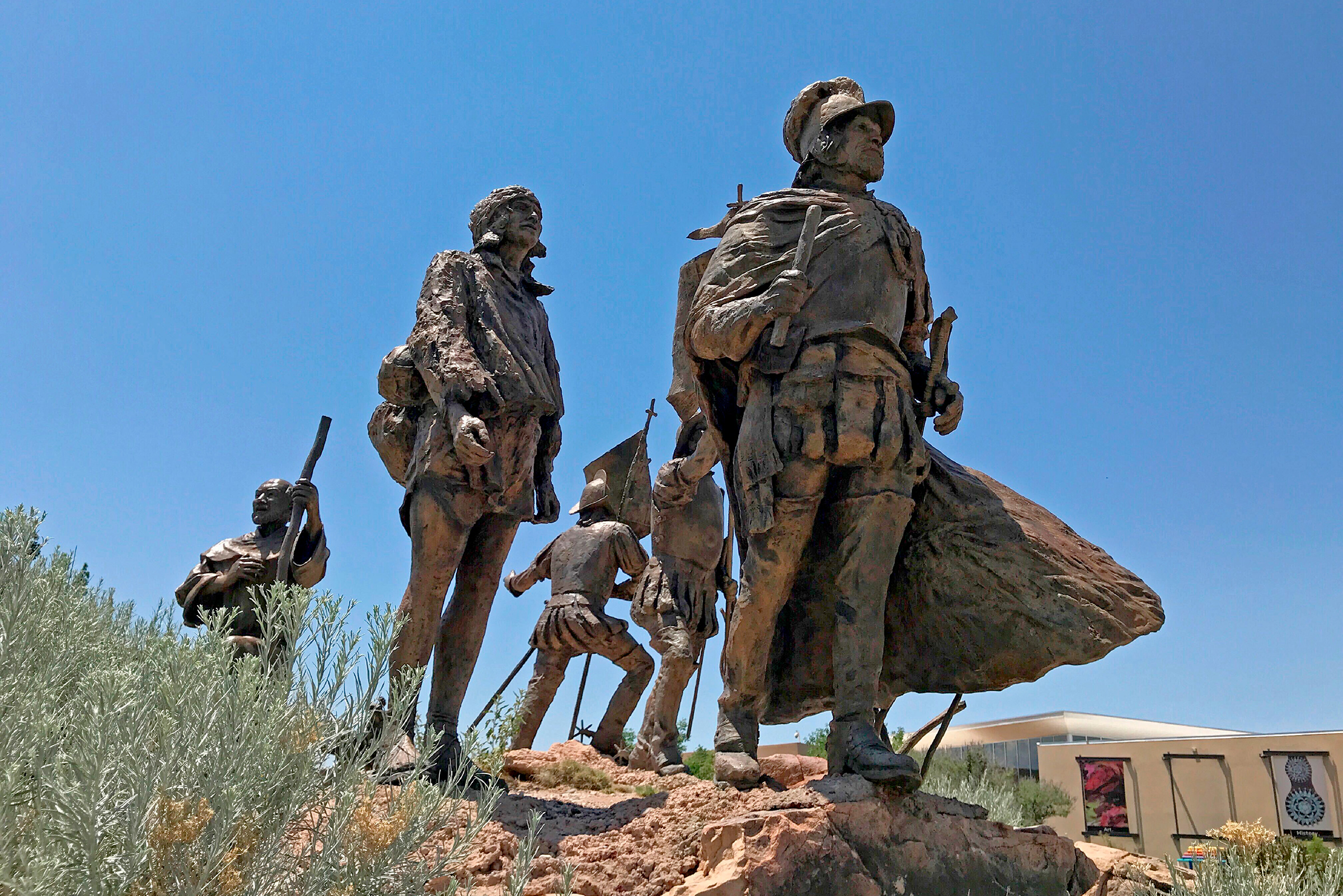 This bronze statue of Don Juan de Oñate leading a group of Spanish settlers stands outside the Albuquerque Museum in Albuquerque, N.M., on Friday, June 12