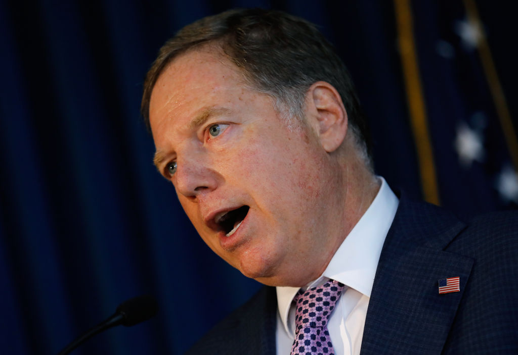 Geoffrey Berman, U.S. attorney for the Southern District of New York, speaks during a news conference in New York, U.S., on Thursday, Oct. 10, 2019.