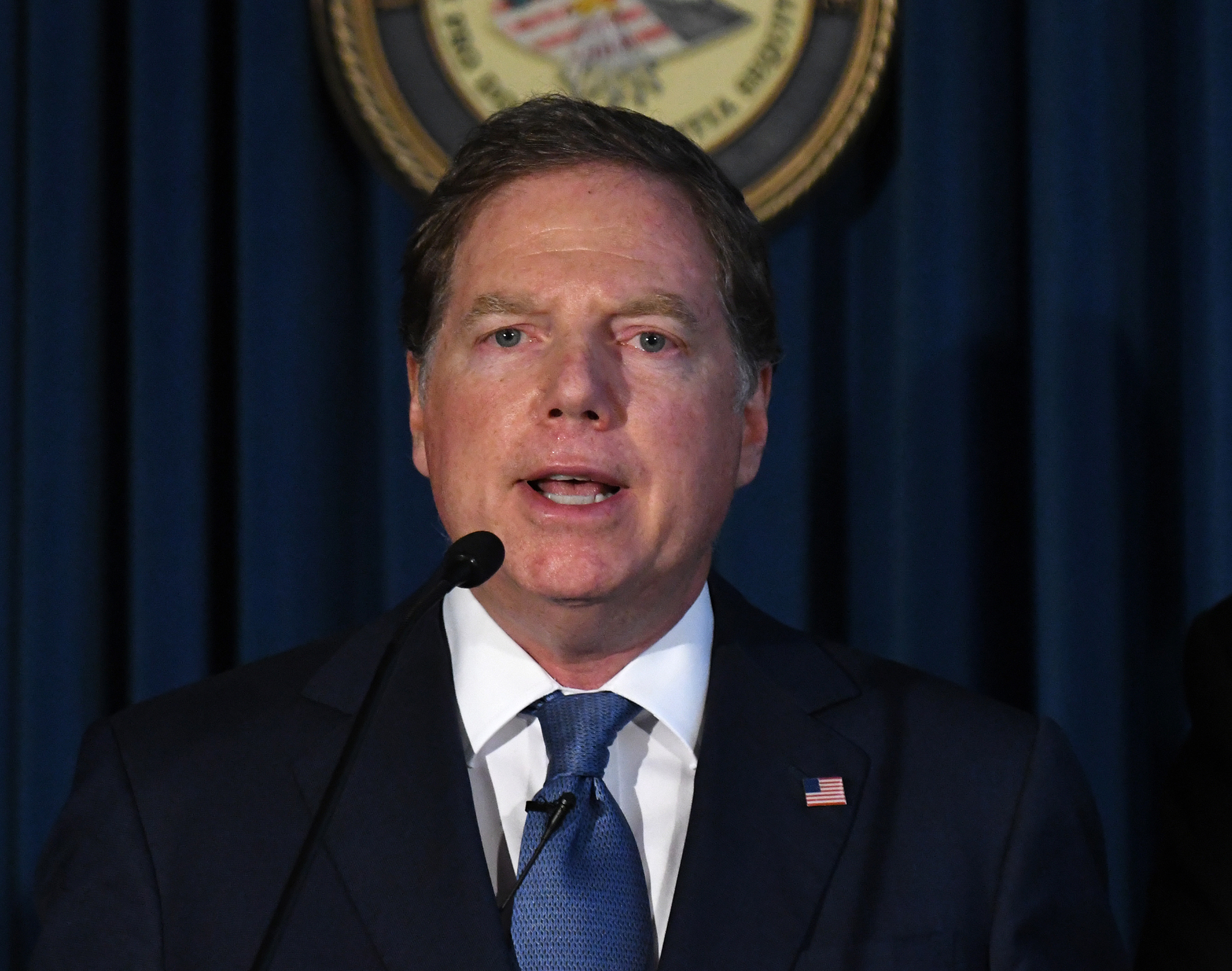 Geoffrey Berman, former U.S. attorney for the Southern District of New York, speaks during a news conference in New York on July 8, 2019.