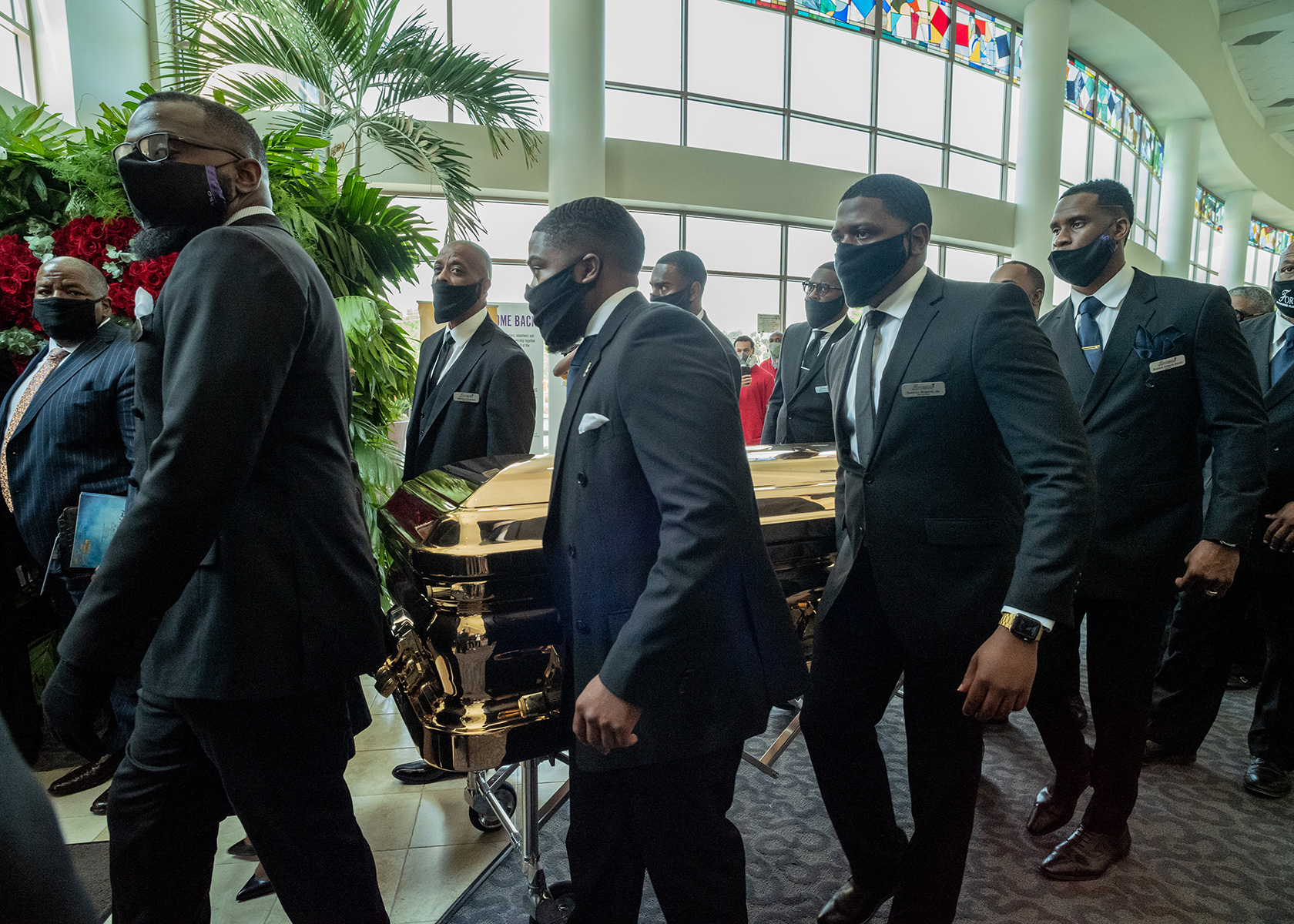 Pallbearers transport George Floyd's casket at The Fountain of Praise Church on June 9.