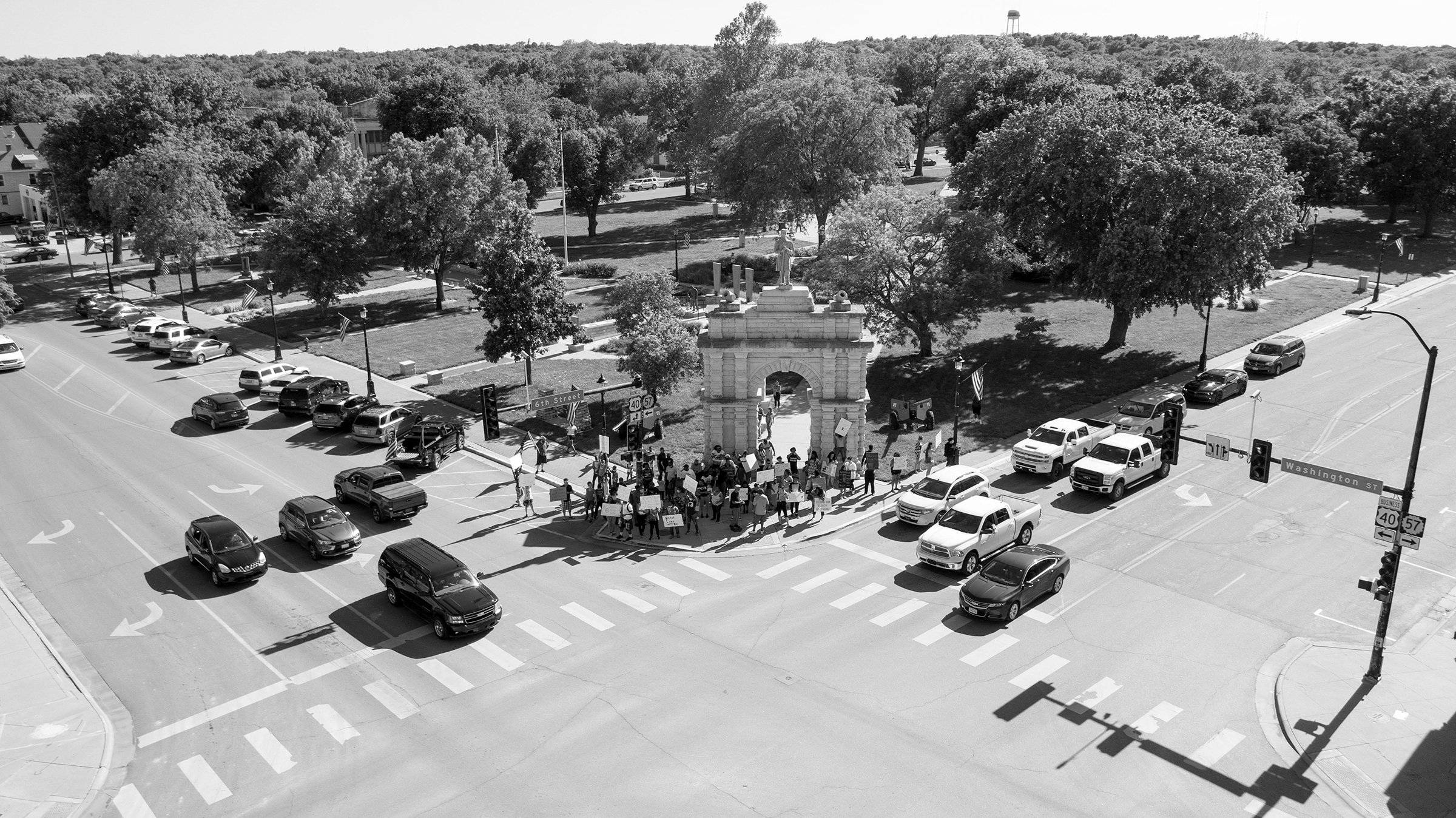 A Protest in response to the killing of George Floyd in Heritage Park, Junction City, Kans., May 29, 2020.