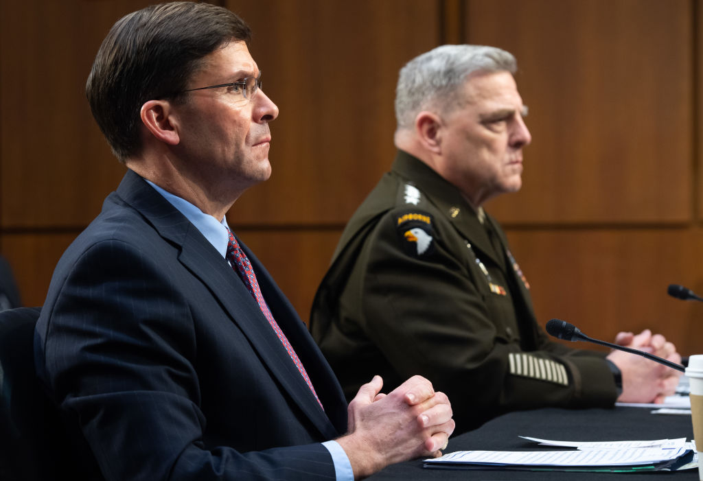US Defense Secretary Mark Esper, left, and Chairman of the Joint Chiefs of Staff General Mark A. Milley, testify about the Defense department budget during a Senate Armed Services Committee hearing in Washington, DC, on March 4, 2020.