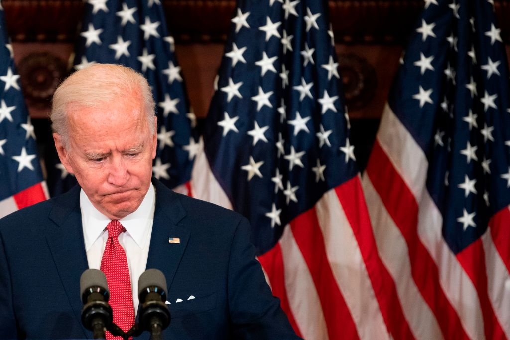 Former vice president and Democratic presidential candidate Joe Biden speaks about the unrest across the country, calling George Floyd's death  a wake-up call for our nation,  in Philadelphia, Pennsylvania, on June 2, 2020.
