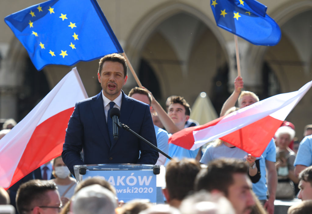 Rafal Trzaskowski, the current Mayor of Warsaw and Civic Platform's candidate for Presidency of Poland, seen during an election campaign rally in Krakow's Main Market Square, on June 7.