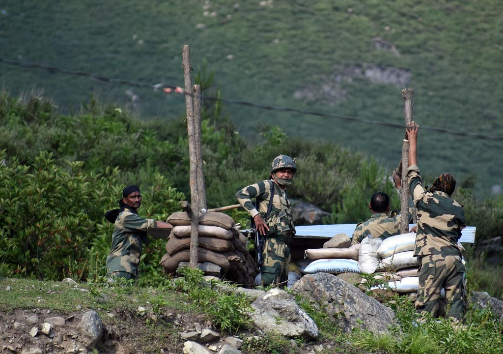 Indian soldiers erect a military bunker along the Srinagar-Leh National highway on June 16, 2020.
