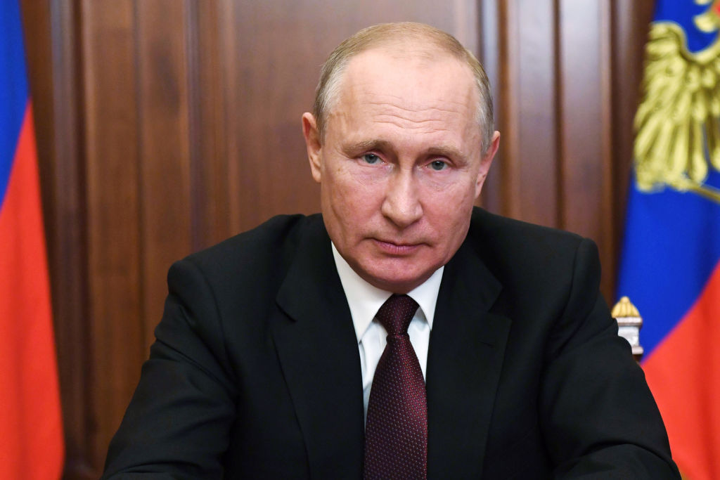 Russian President Vladimir Putin gives a televised address to the nation in Moscow on June 23, 2020