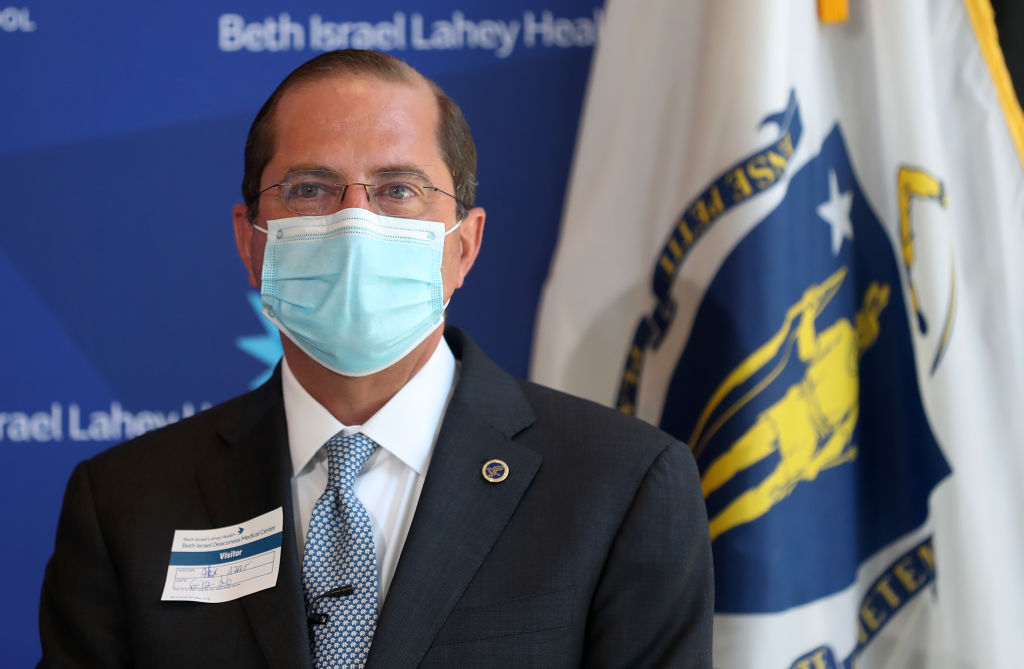 Secretary of Health and Human Services Alex Azar speaks at a press conference after a tour at Beth Israel Deaconess Medical Center on June 12, 2020 in Boston.
