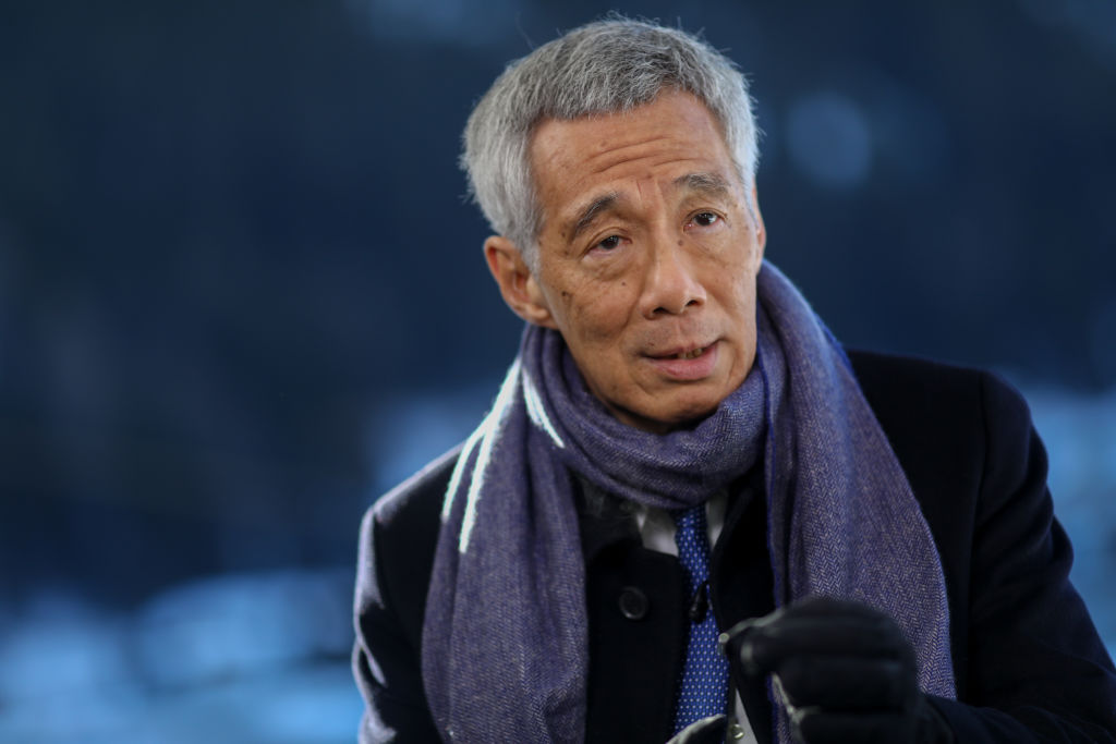 Lee Hsien Loong, Singapore's prime minister, speaks during a Bloomberg Television interview on day three of the World Economic Forum (WEF) in Davos, Switzerland, on Thursday, Jan. 23, 2020.
