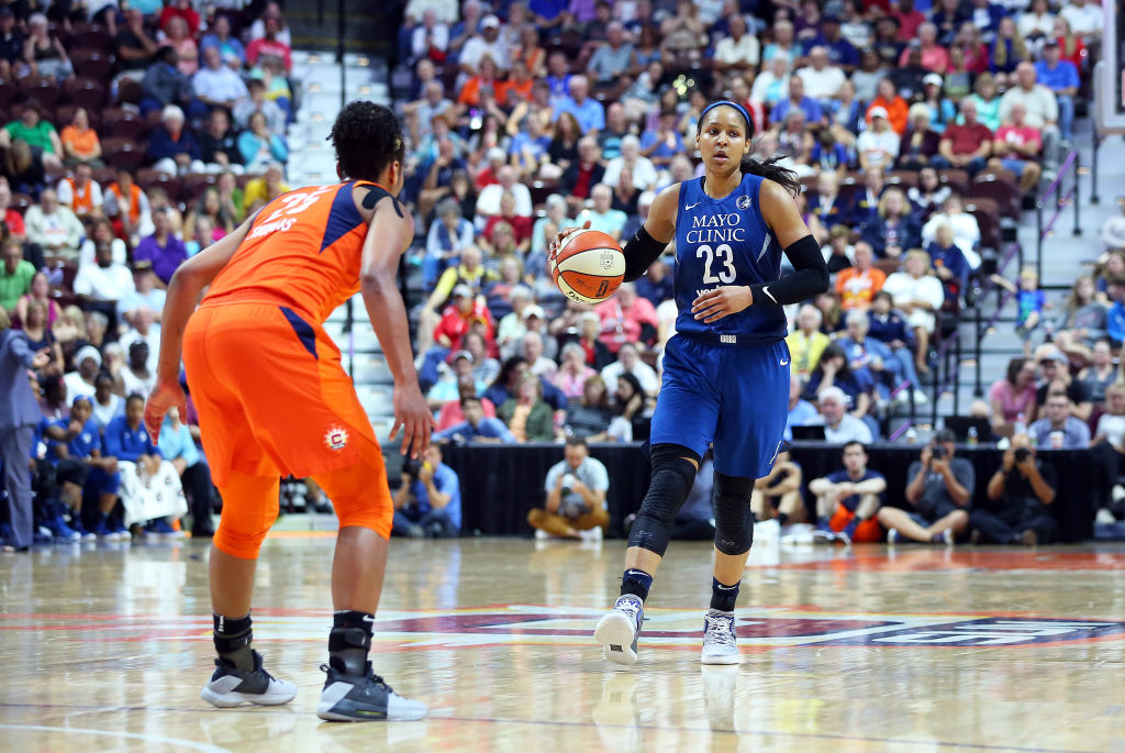 Minnesota Lynx forward Maya Moore (23) and Connecticut Sun forward Alyssa Thomas (25) in action during a WNBA game between Minnesota Lynx and Connecticut Sun on August 17, 2018, at Mohegan Sun Arena in Uncasville, CT.