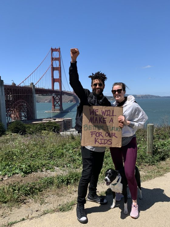 Quin Messenger and Carrie Montgomery attend a Black Lives Matter protest in San Francisco on June 6, 2020.