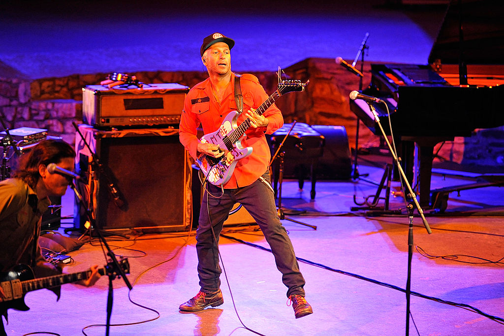 Guitarist Tom Morello of Rage Against The Machine performs at the Jail Guitar Doors All-Star Fundraising Concert  at Ford Theatre on September 5, 2014 in Hollywood, California.