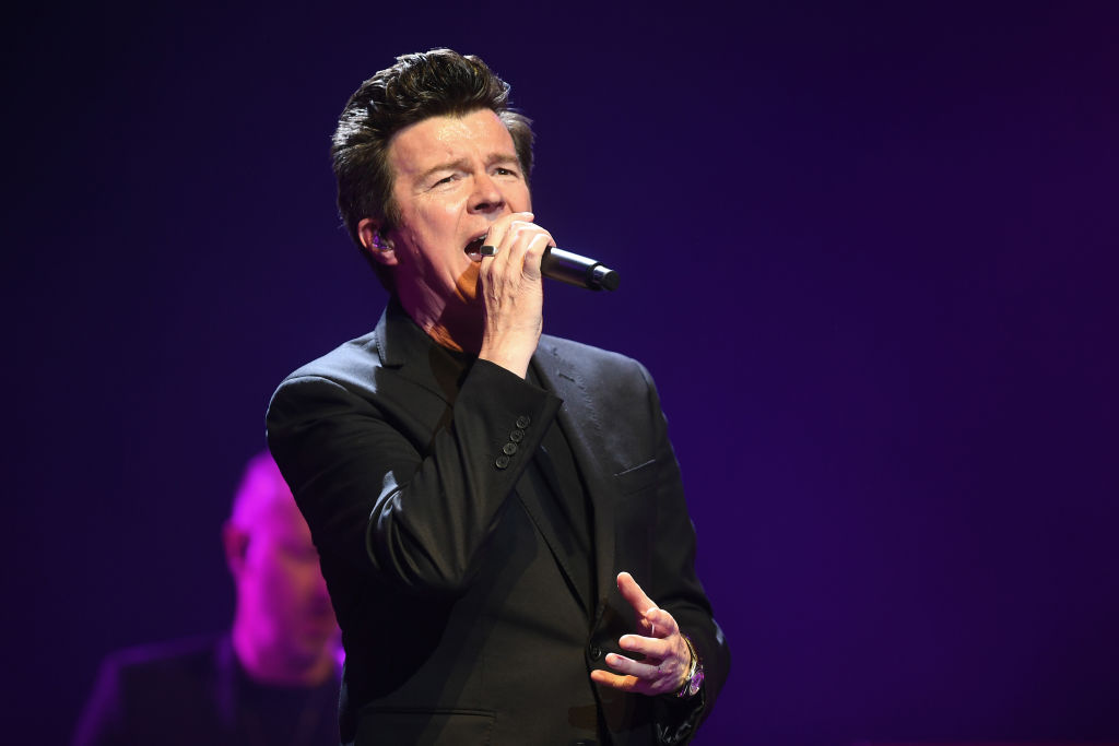Rick Astley performs on stage at FlyDSA Arena on April 12, 2019 in Sheffield, England.