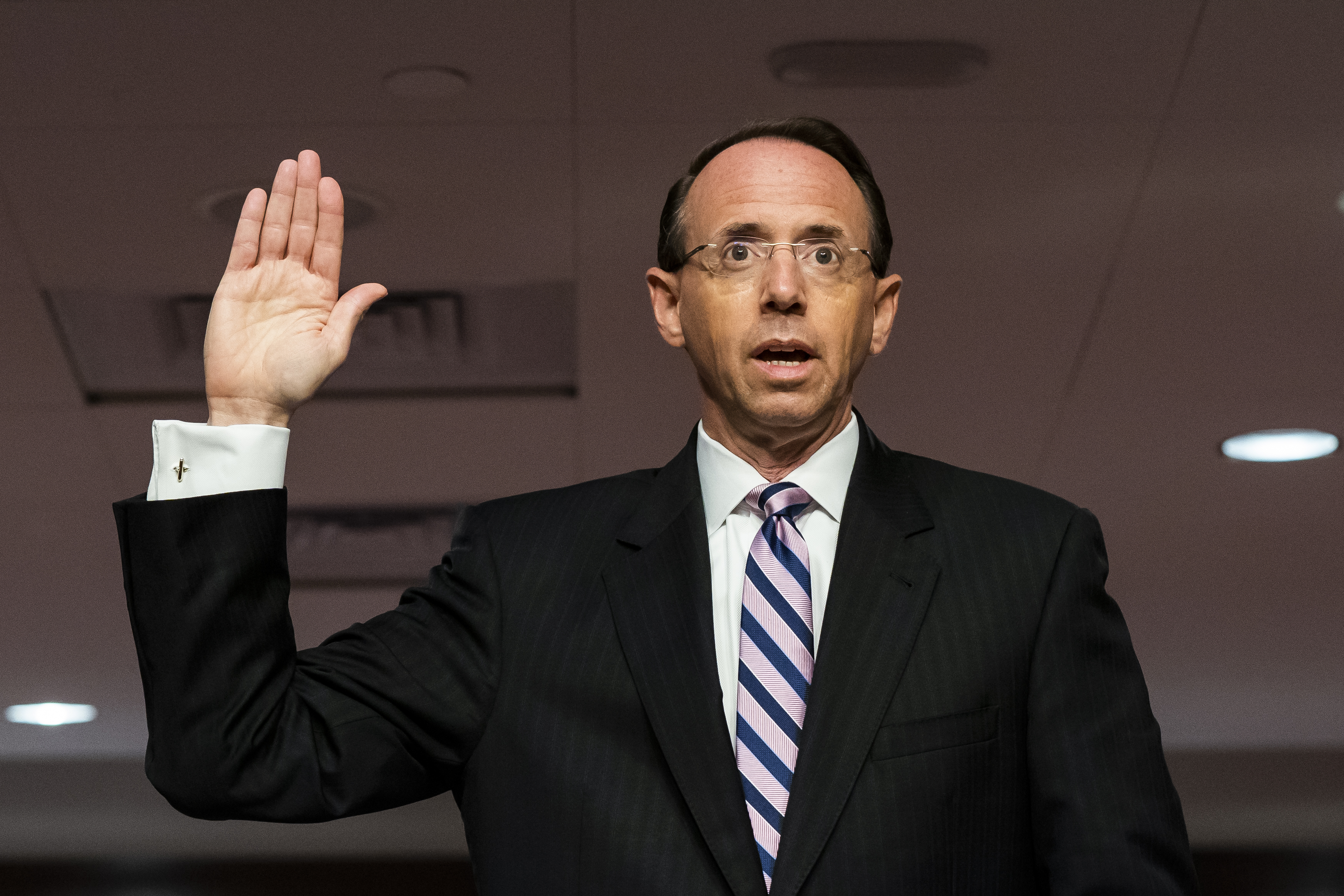 Former Deputy Attorney General Rod Rosenstein is sworn in before a Senate Judiciary Committee hearing on Capitol Hill in Washington, Wednesday, June 3, 2020.