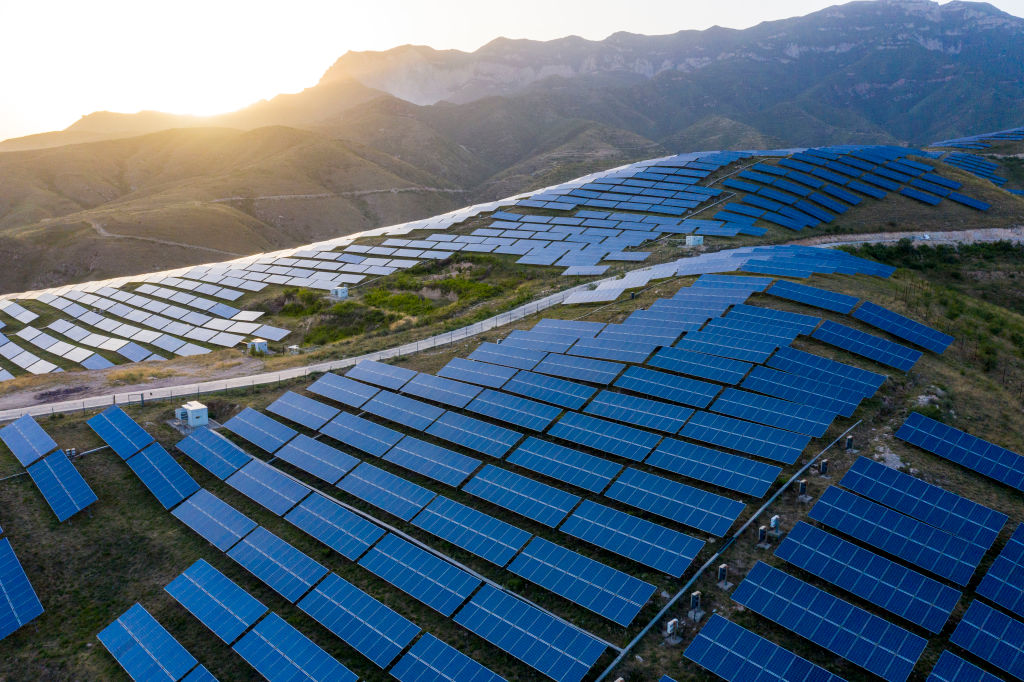 Aerial view of solar panels at a 50MW photovoltaic power station in Shanxi Province, China on June 3, 2020.