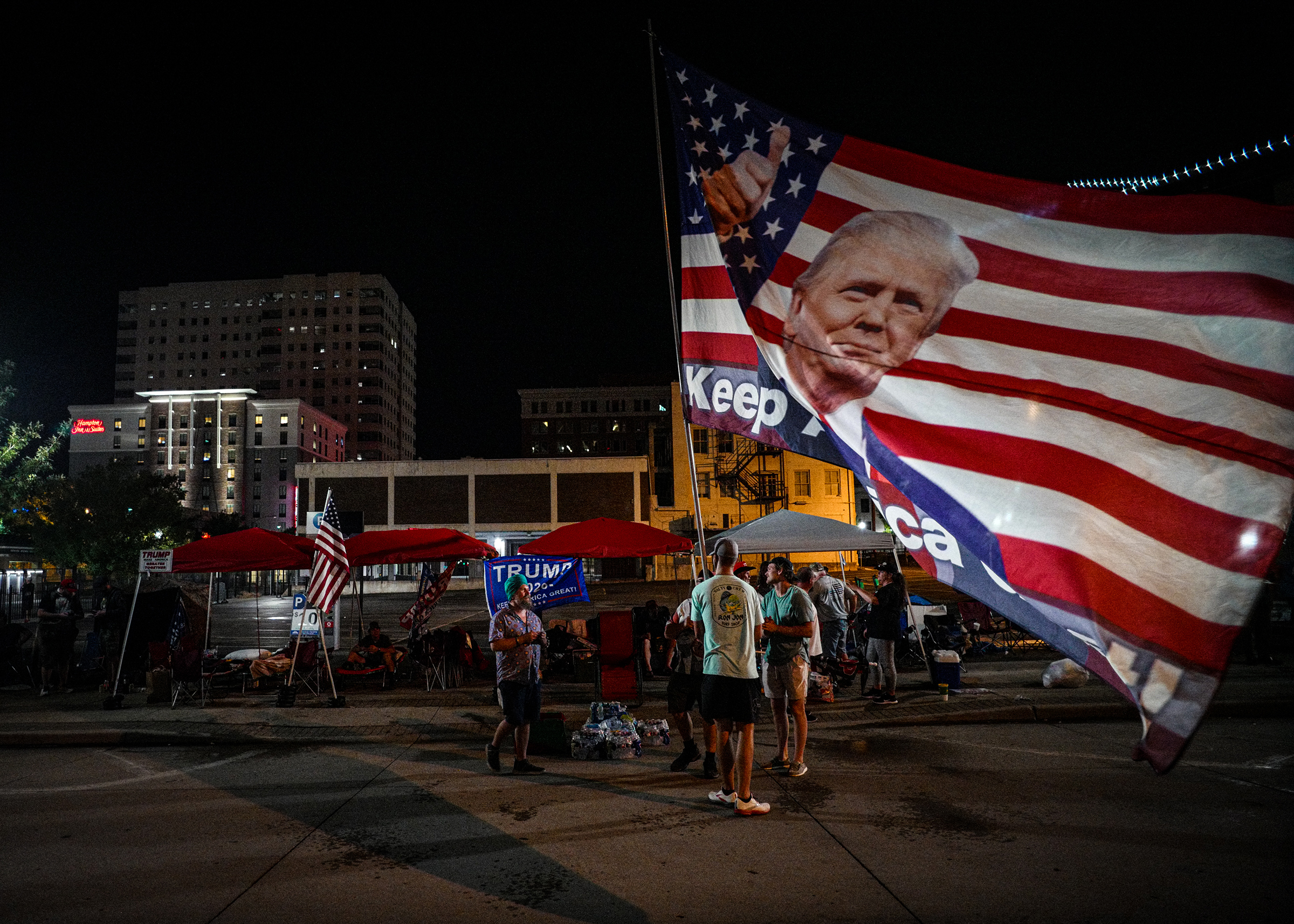 Supporters of President Donald Trump camp outside the BOK Center before  tomorrow's rally in Tulsa, Oklahoma, June 19, 2020.