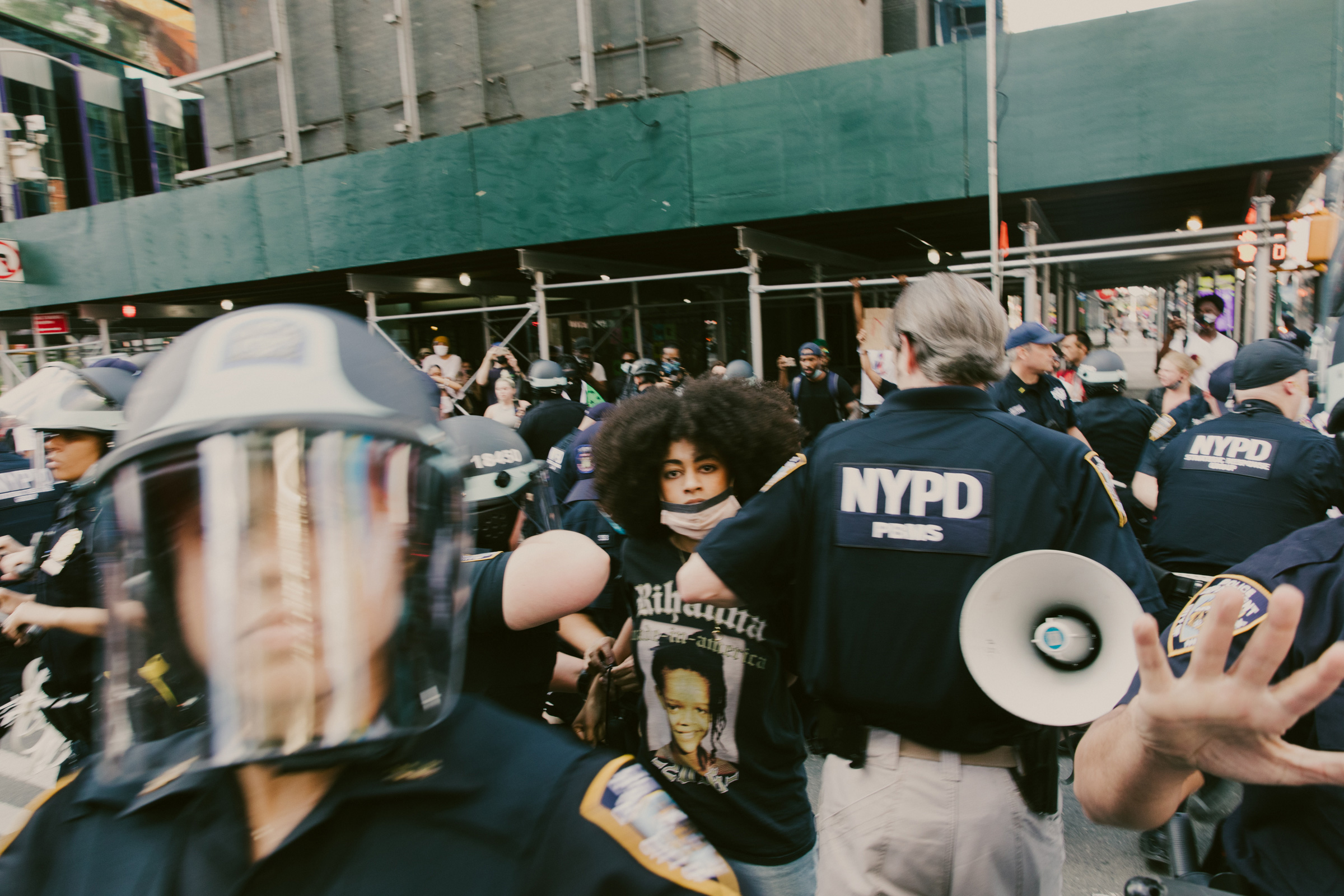 Ria Foye as she is arrested in Times Square after peacefully marching from Harlem on May 30. She was detained for more than seven hours.
