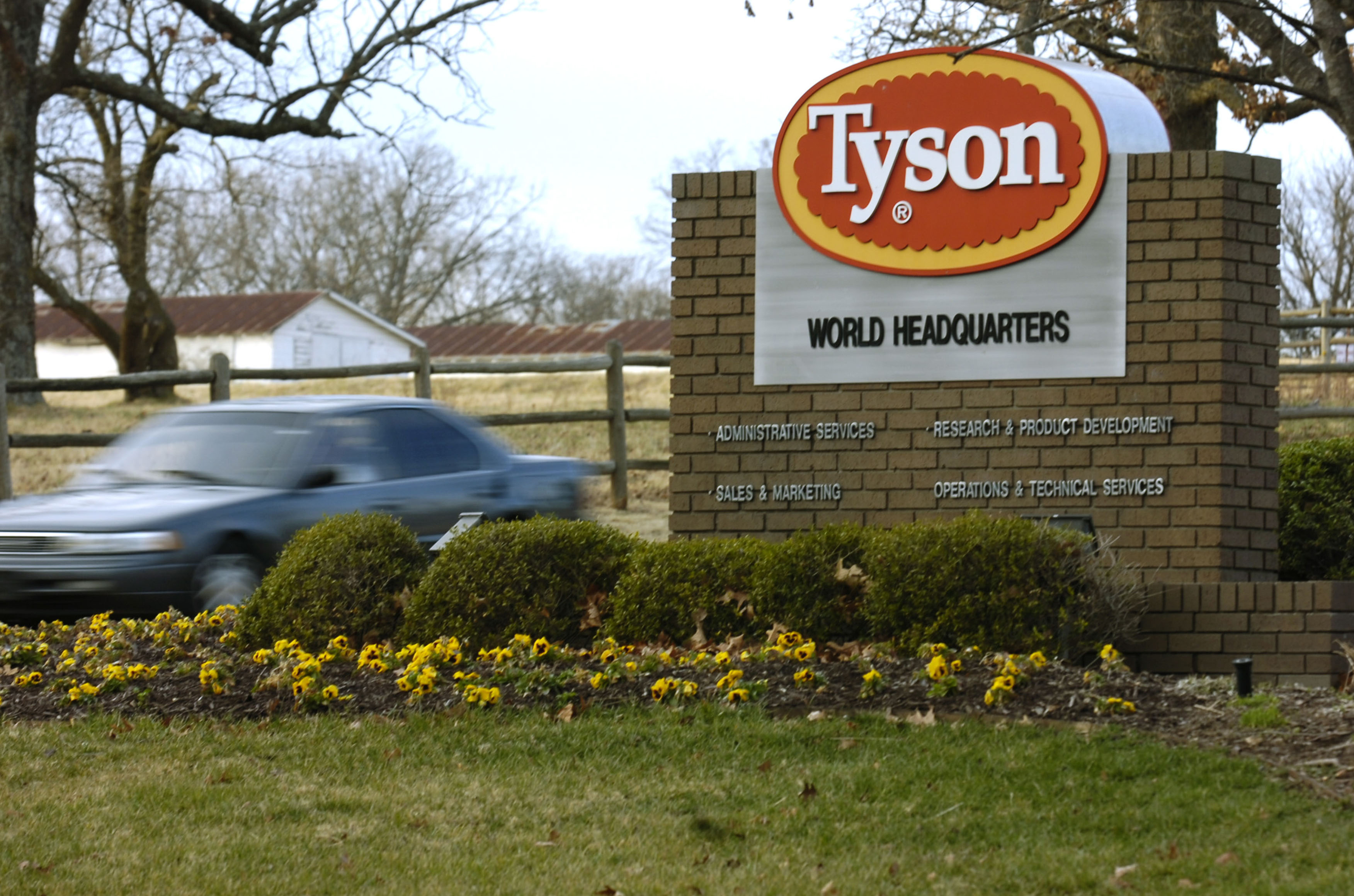 In this Jan. 29, 2006, file photo, a car passes in front of a Tyson Foods Inc., sign at Tyson headquarters in Springdale, Ark. China's decision to ban imports from a single Tyson Foods poultry plant because of concerns about a coronavirus outbreak there puzzled many in the meat industry and raised concerns about whether this could threaten a major market for U.S. meat.