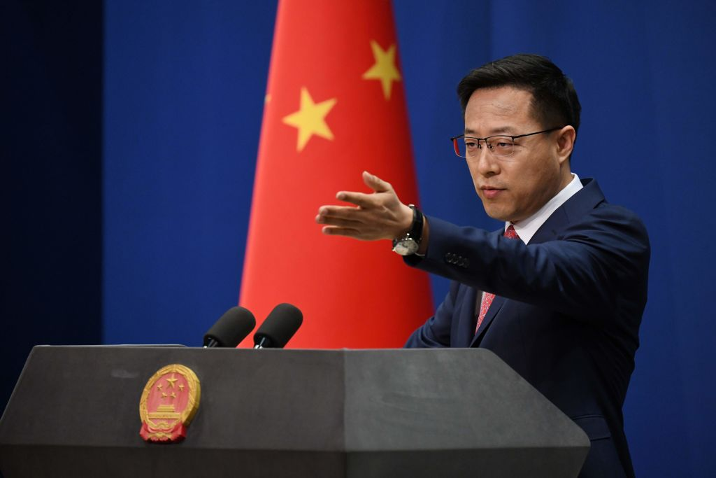Chinese Foreign Ministry spokesman Zhao Lijian takes a question at the daily media briefing in Beijing on April 8, 2020.