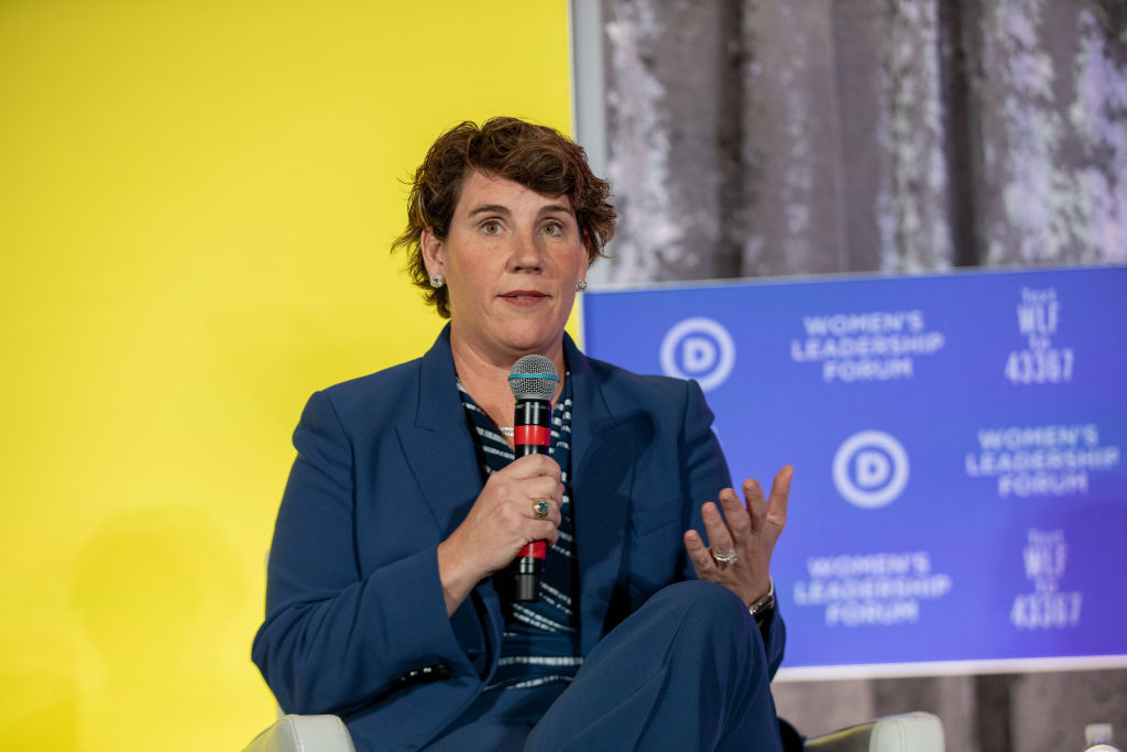 Kentucky DemocratAmy McGrath, a former Marine fighter pilot, speaks during the DNC Women's Leadership Forum conference in Washington, D.C., U.S., on Oct. 17, 2019.