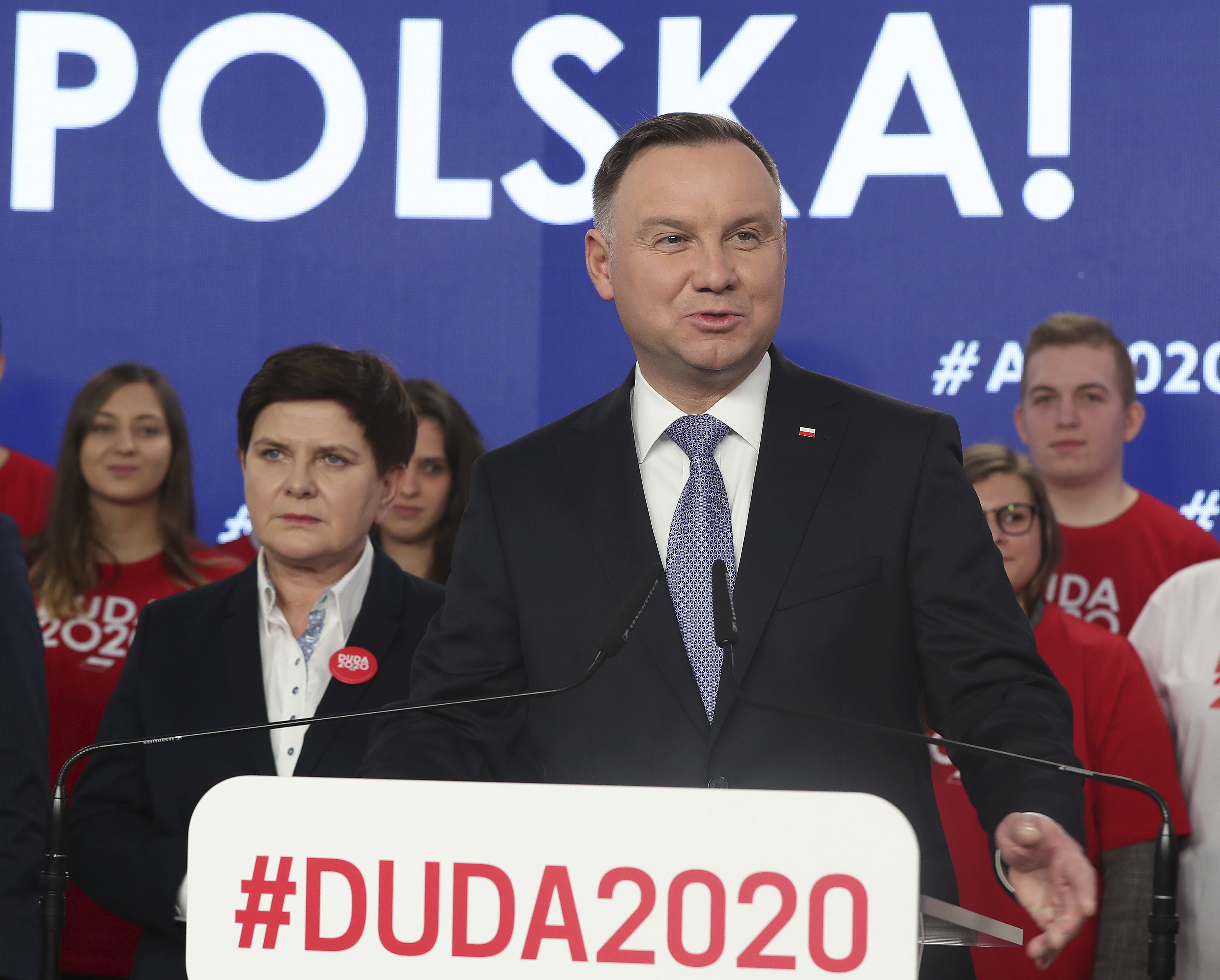 Poland's President Andrzej Duda campaigns for his re-election in Warsaw, Poland on February 20, 2020.