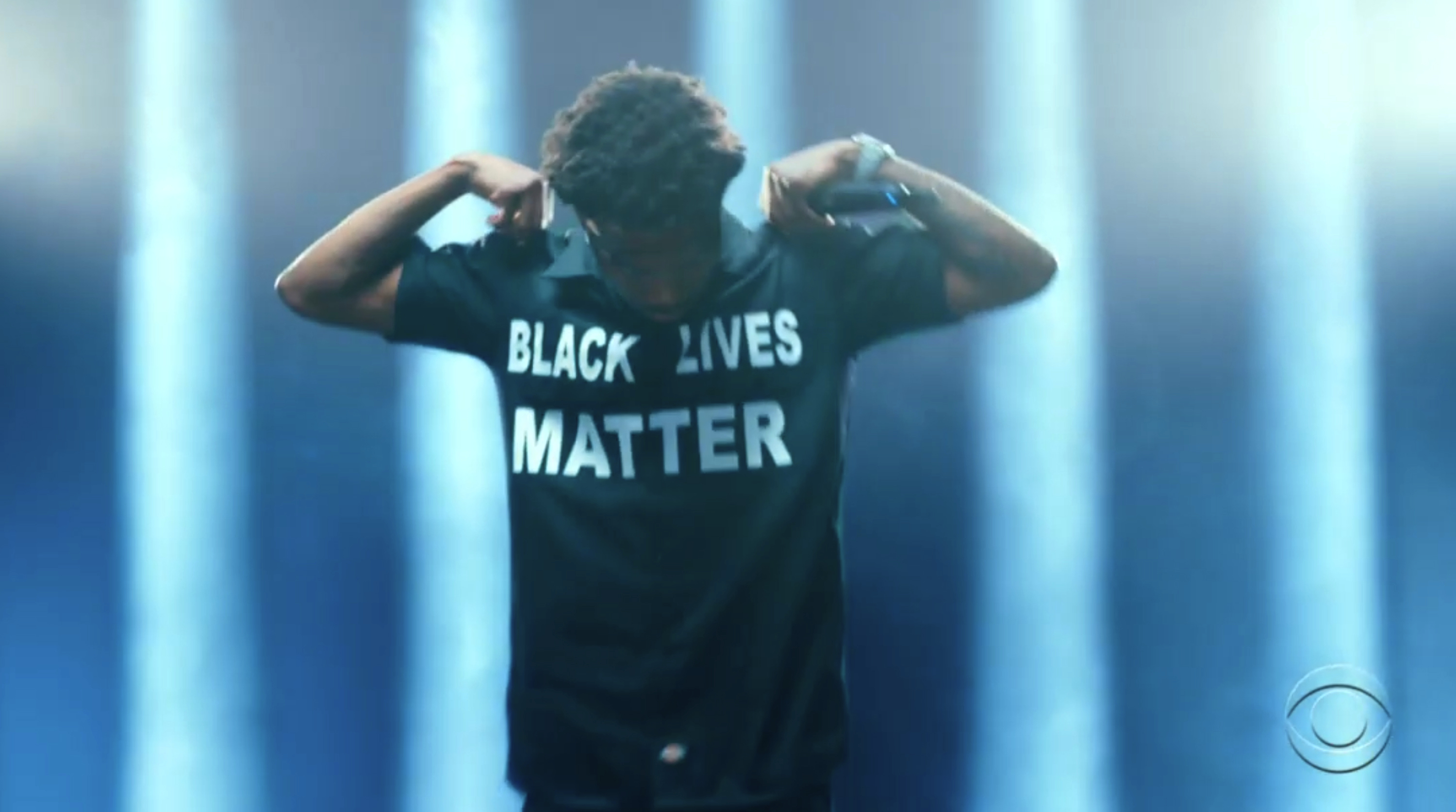 In this video grab issued Sunday, June 28, 2020, by BET, Roddy Ricch wears a shirt that says Black Lives Matter while performing during the BET Awards.