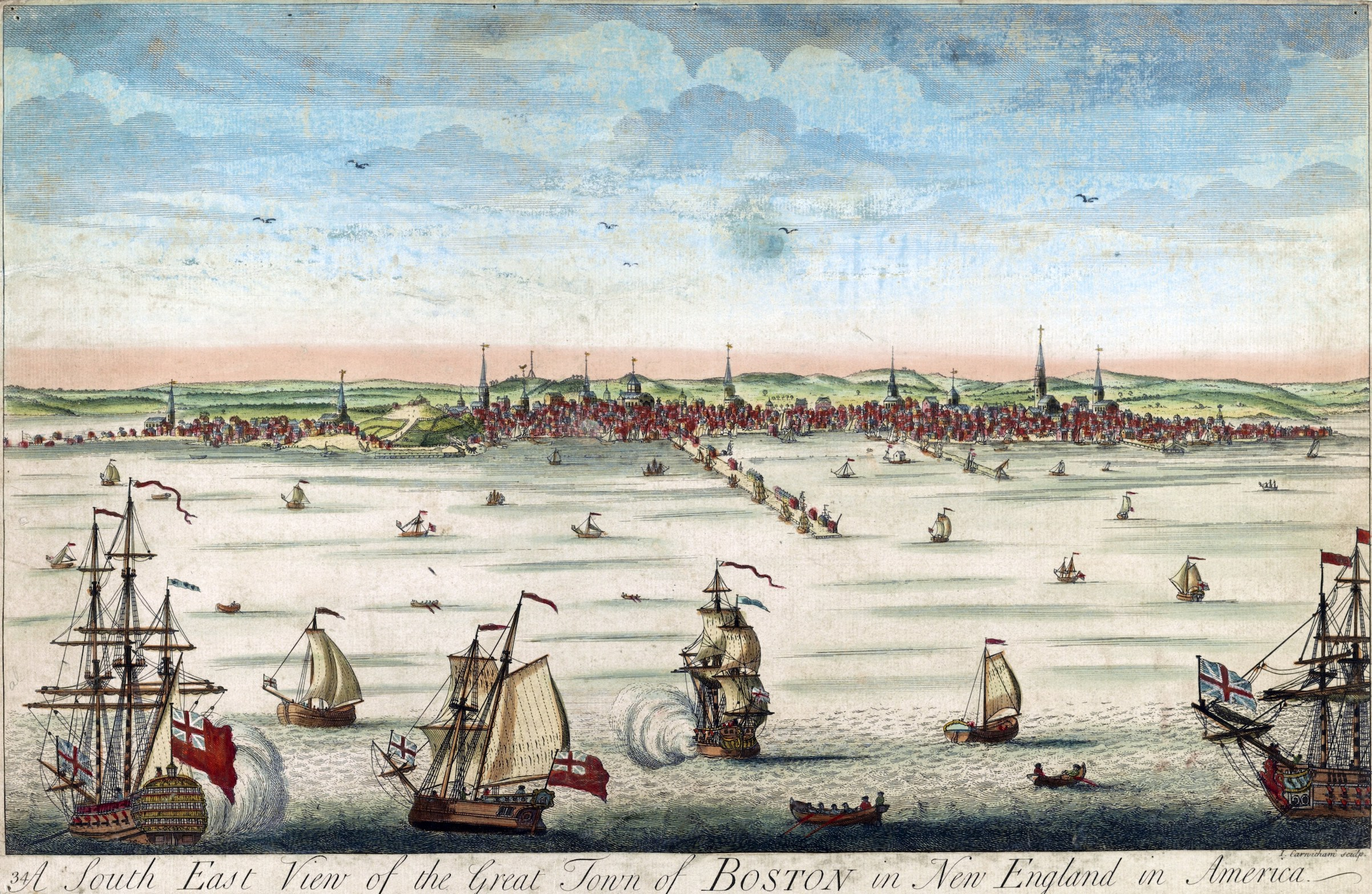 A view of Boston from the harbor, with ships in the foreground. Created by John Carwitham, mid-18th century.