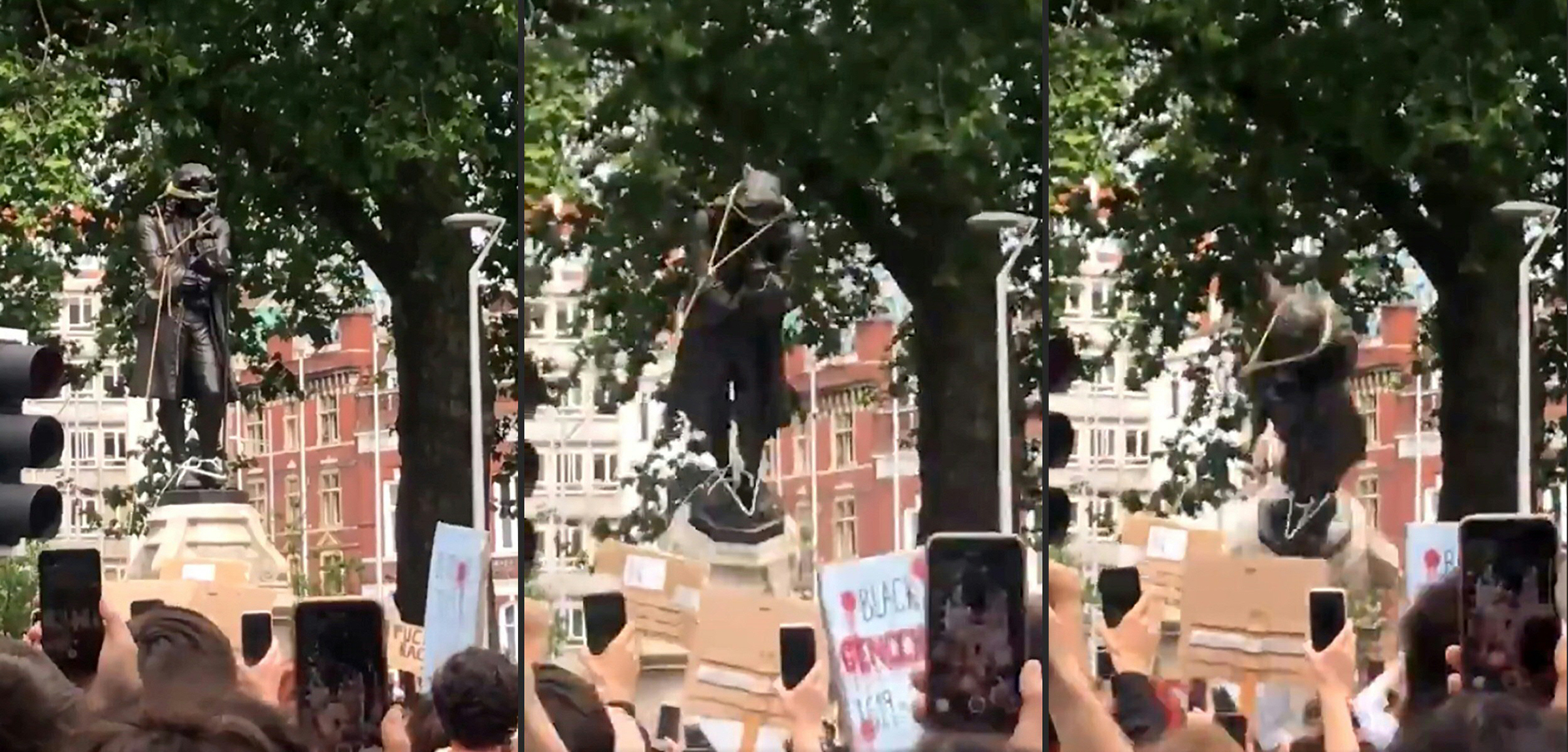 Protesters pulling down a statue of slave trader Edward Colston in Bristol, England, during a demonstration organized to show solidarity with the Black Lives Matter movement on June 7, 2020.