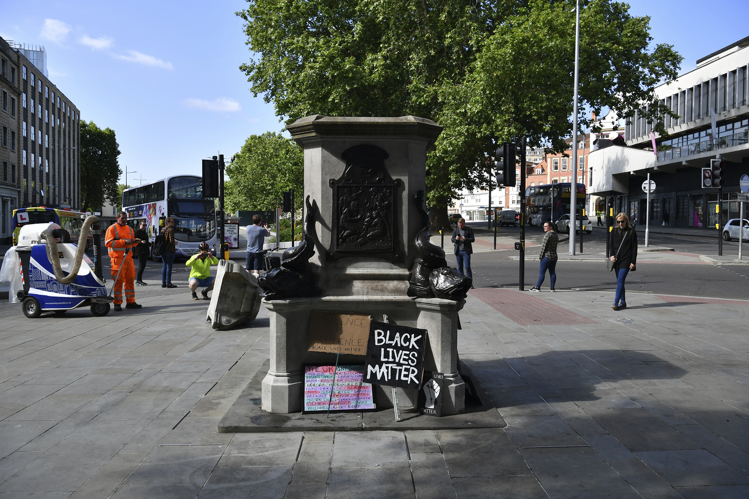 The empty plinth where the statue of Edward Colston once stood after it was taken down during a Black Lives Matter protest on Sunday, seen here on June 8, 2020 in Bristol, England.