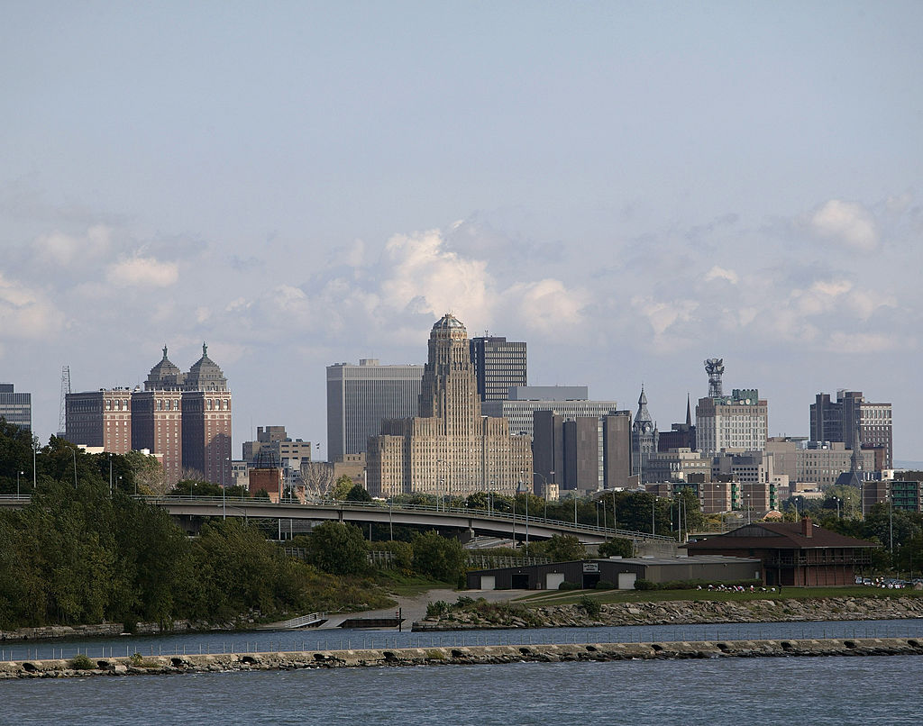 A view across the Niagara River shows Buffalo, New York.