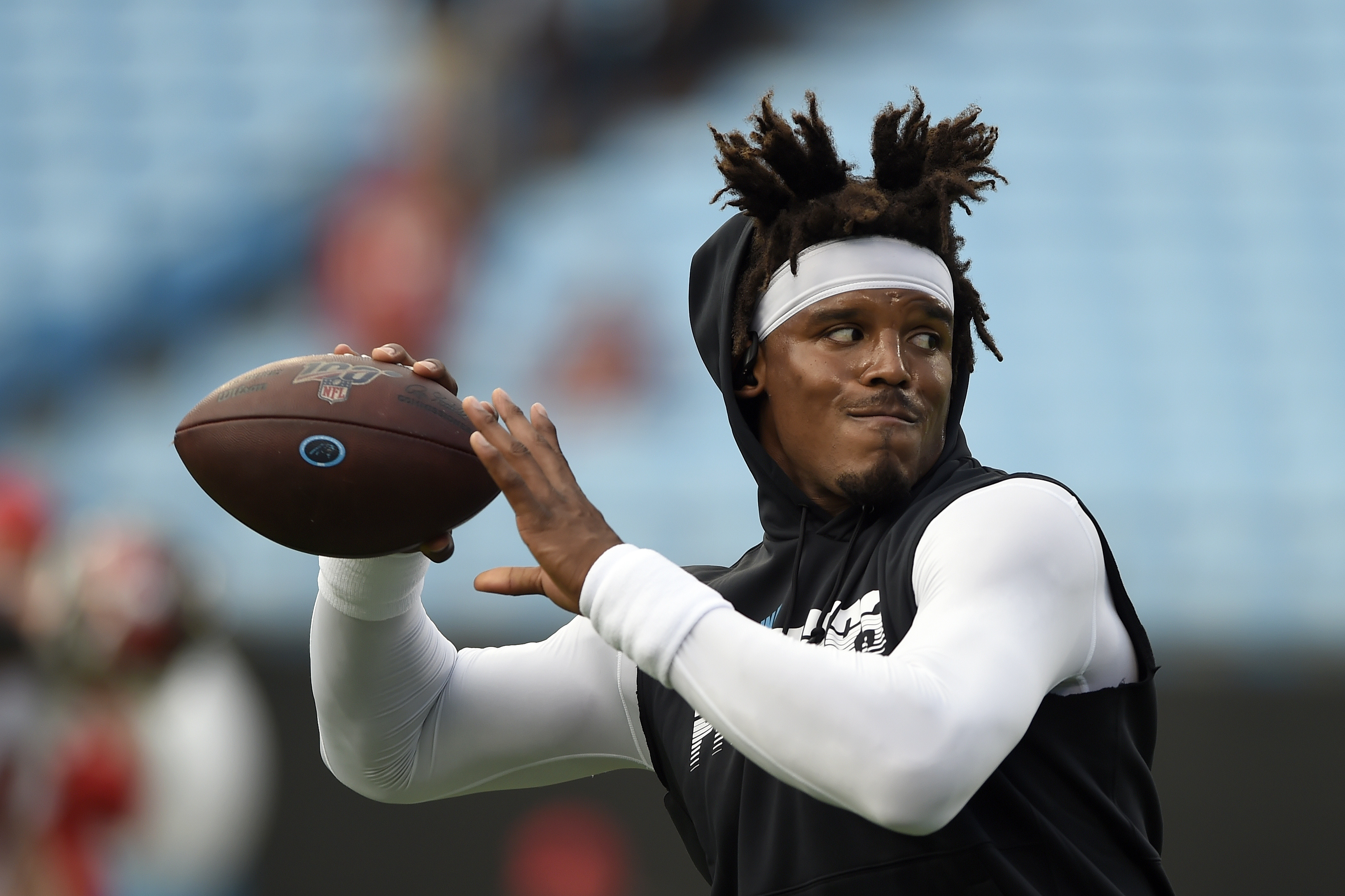 Carolina Panthers quarterback Cam Newton warms up prior to an NFL football game against the Tampa Bay Buccaneers in Charlotte, N.C., Thursday, Sept. 12, 2019.