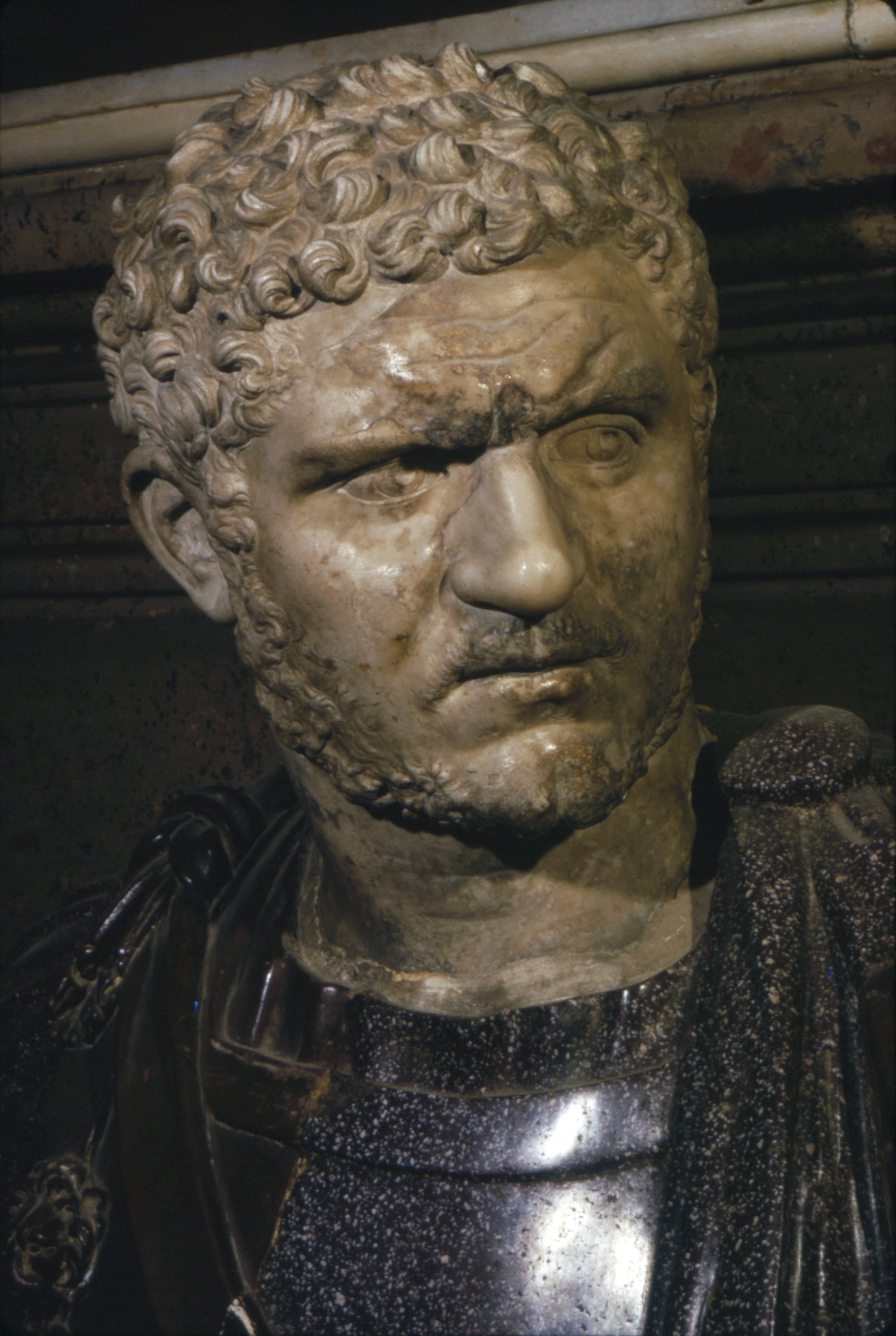 Ancient marble bust of Emperor Caracalla, 212-217. In the collections of the Capitoline Museums, Rome.