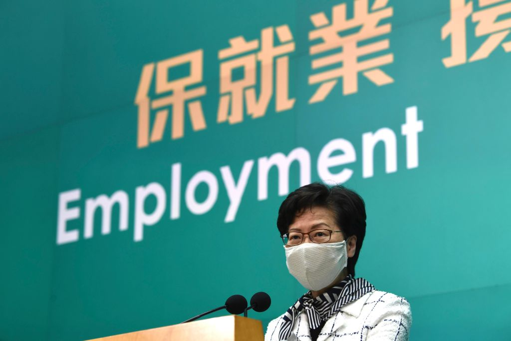 Hong Kong Chief Executive Carrie Lam Cheng Yuet-ngor wearing a face mask speaks during a press conference on June 16, 2020 in Hong Kong.