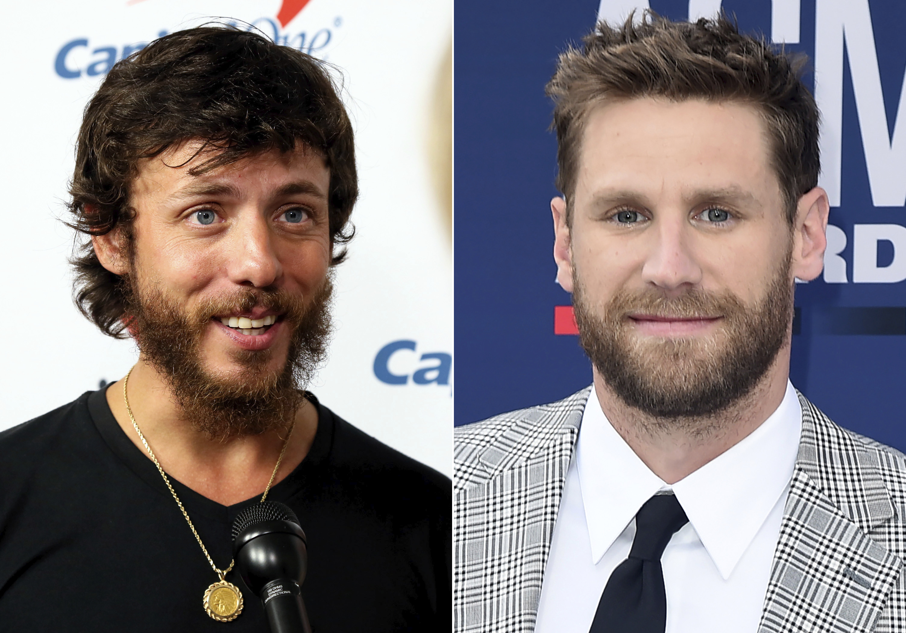 This combination photo shows Chris Janson at the iHeartCountry Festival in Austin, Texas on May 4, 2019, left, and Chase Rice at the 54th annual Academy of Country Music Awards in Las Vegas on April 7, 2019. Musicians and fans alike are criticizing country artists like Janson and Rice who performed at outdoor concerts this weekend where social media pictures showed large crowds without masks. Rice performed in front of a large crowd in Tennessee and Janson performed at an outdoor festival in Idaho.