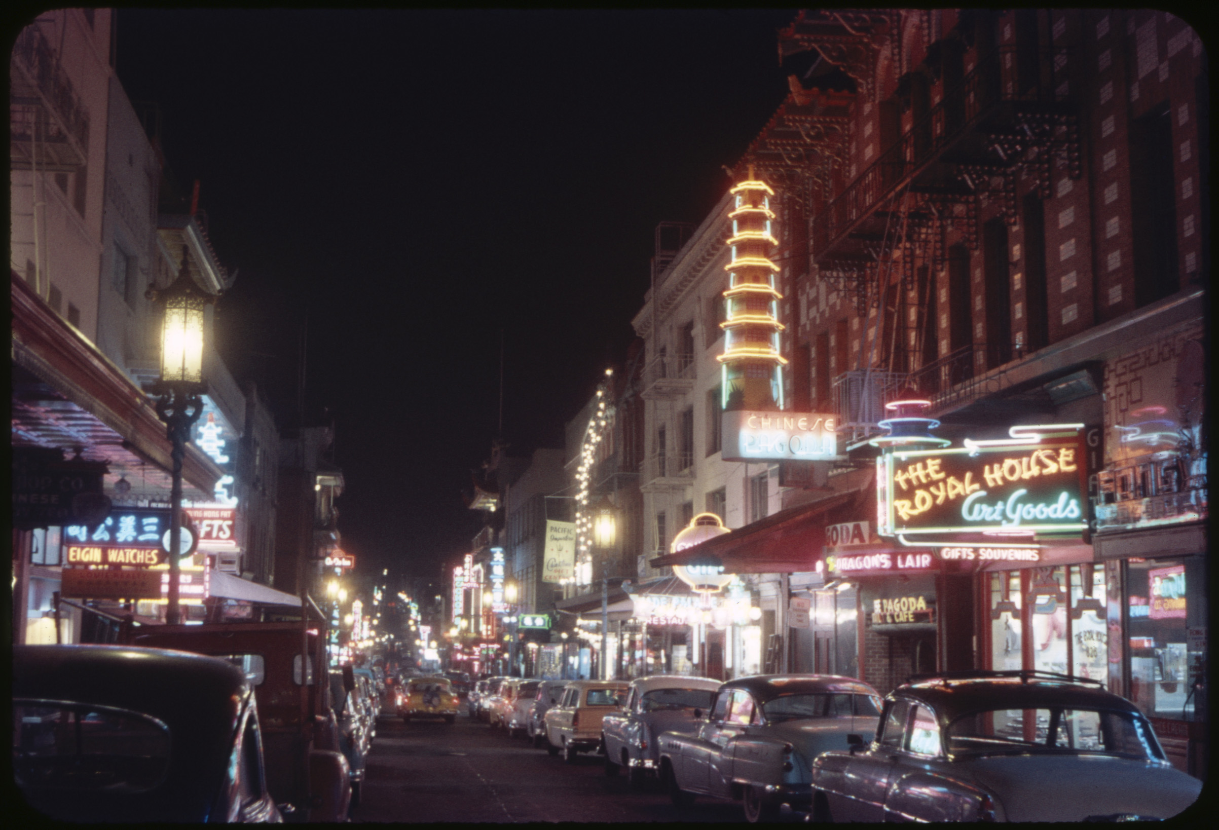 Street Scene at night in San Francisco's Chinatown in the mid-1950s.