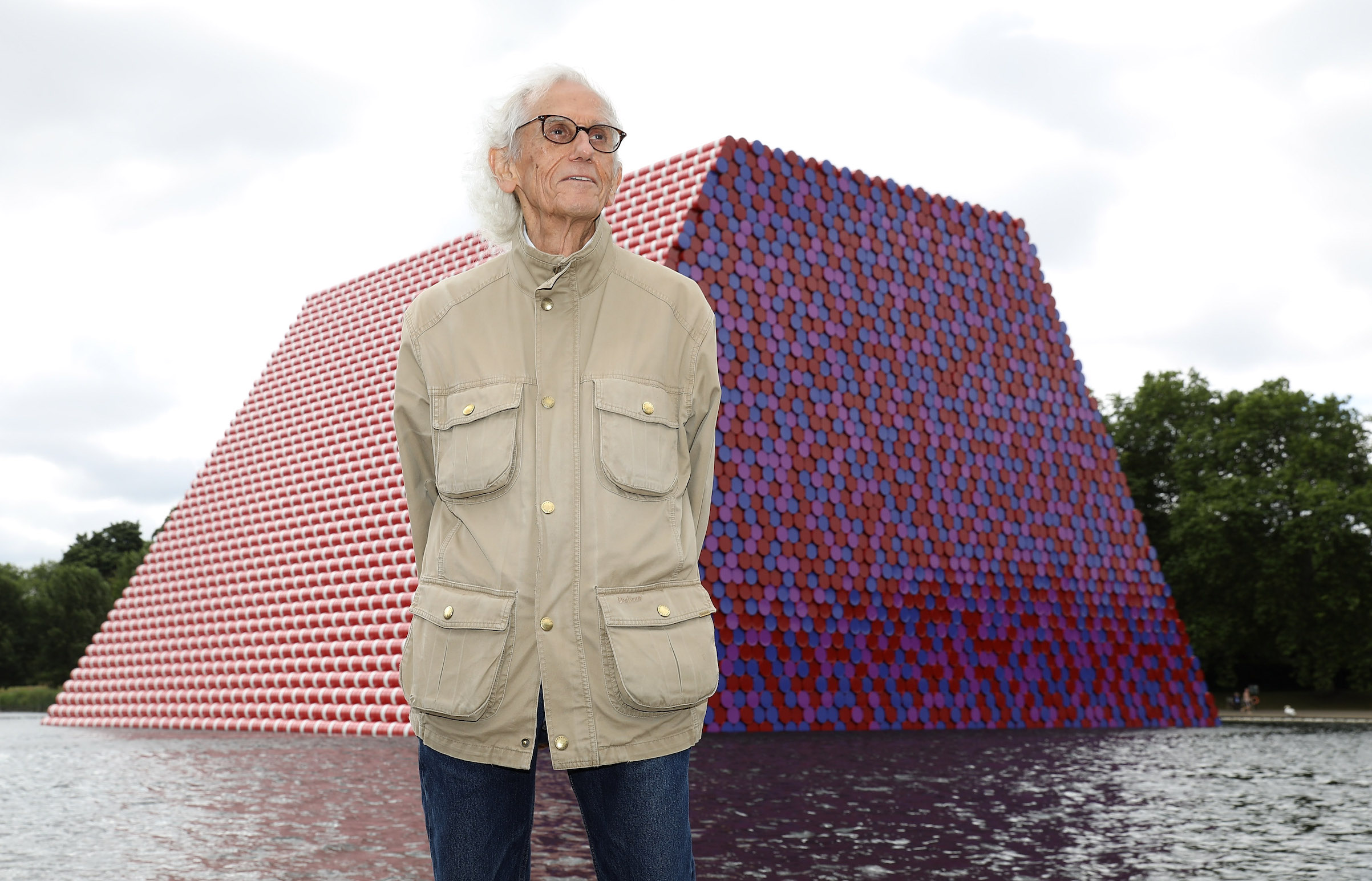 Christo unveils an installation on Serpentine Lake, with accompanying exhibition at the Serpentine Gallery on June 18, 2018 in London.