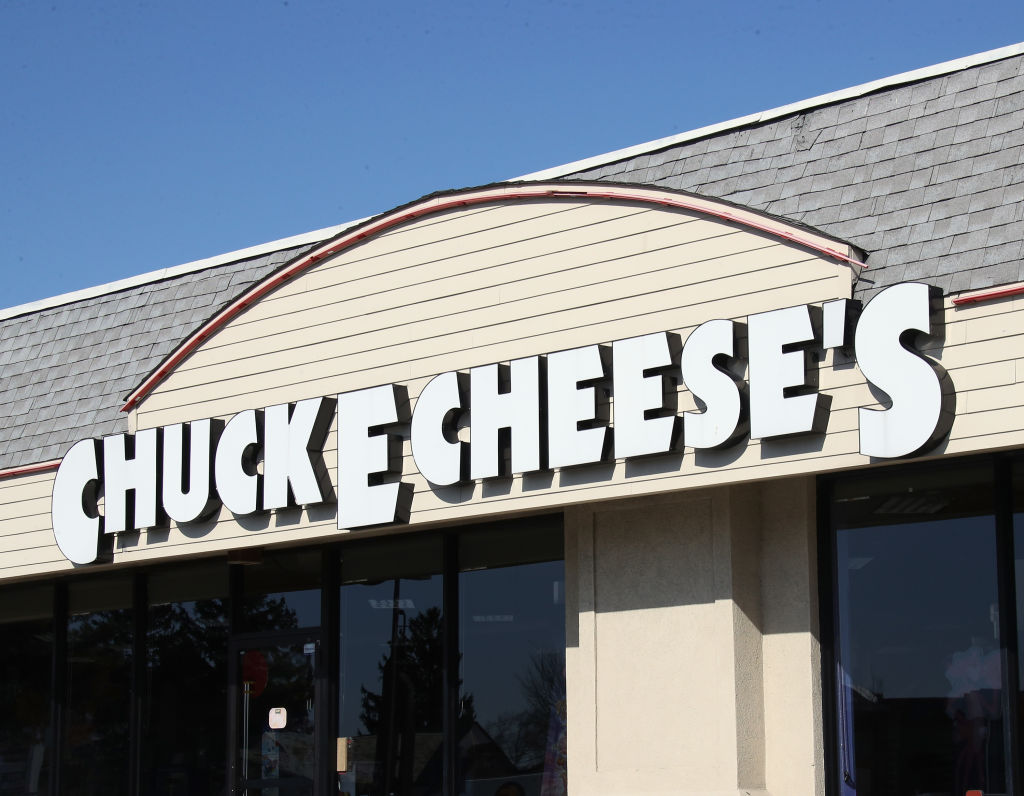 An image of the sign for a Chuck E Cheese store as photographed on March 18, 2020 in Hicksville, New York.