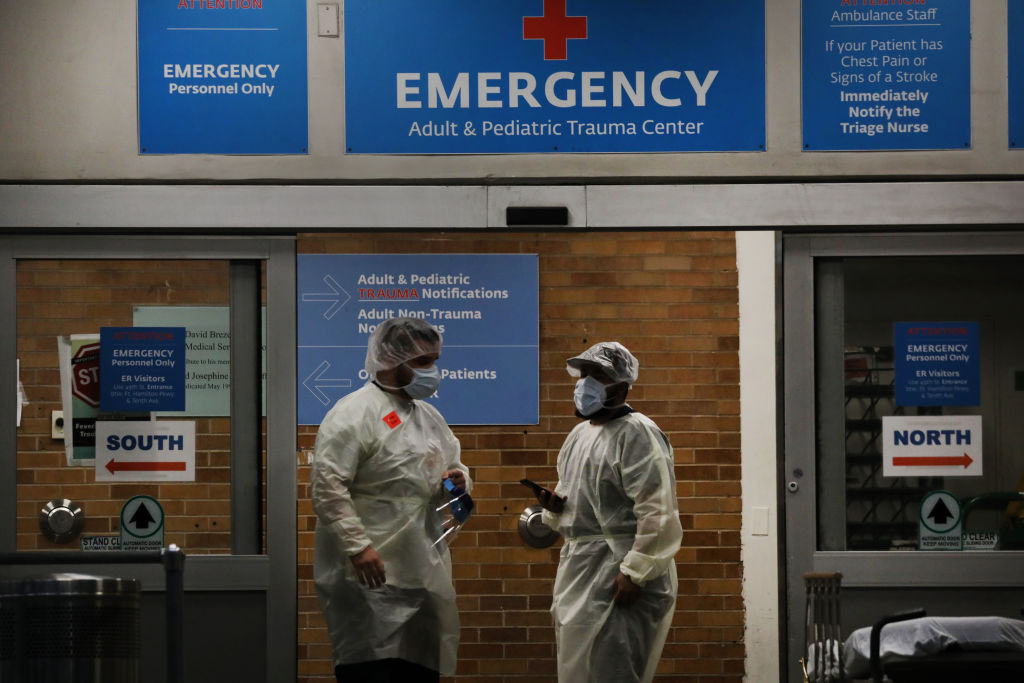 Medical workers take in patients outside a special coronavirus area at Maimonides Medical Center on May 6, 2020 in the Borough Park neighborhood of the Brooklyn borough of New York City.