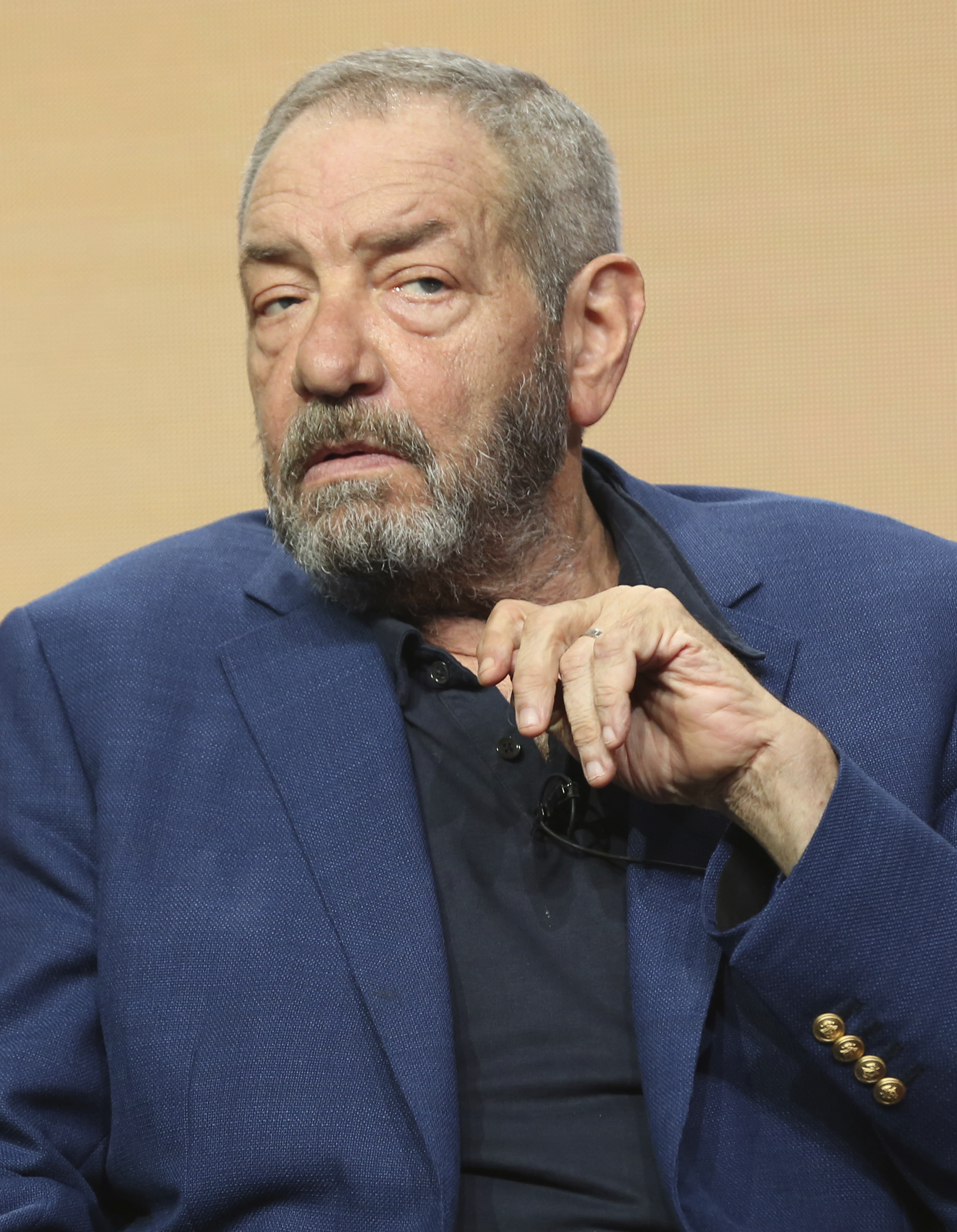 Creator/executive producer Dick Wolf participates in the 'Law & Order' panel during the NBC Television Critics Association Summer Press Tour on Aug. 3, 2017, in Beverly Hills, Calif.