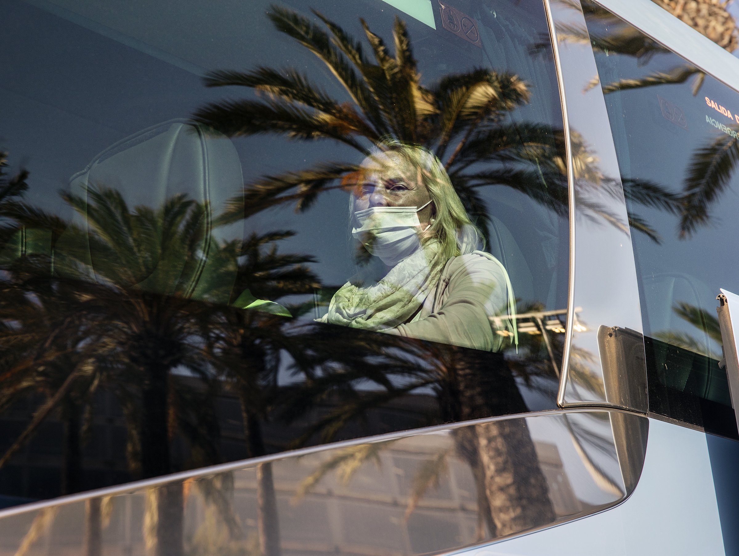 A tourist arriving from Germany onboard the TUI operator bus at Palma de Mallorca airport on June 15, 2020.