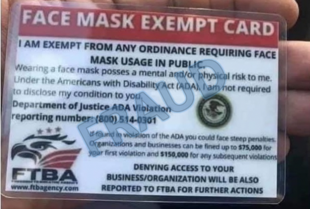 A photo of a fraudulent 'face mask exempt' card released by the U.S. Department of Justice on Thursday.