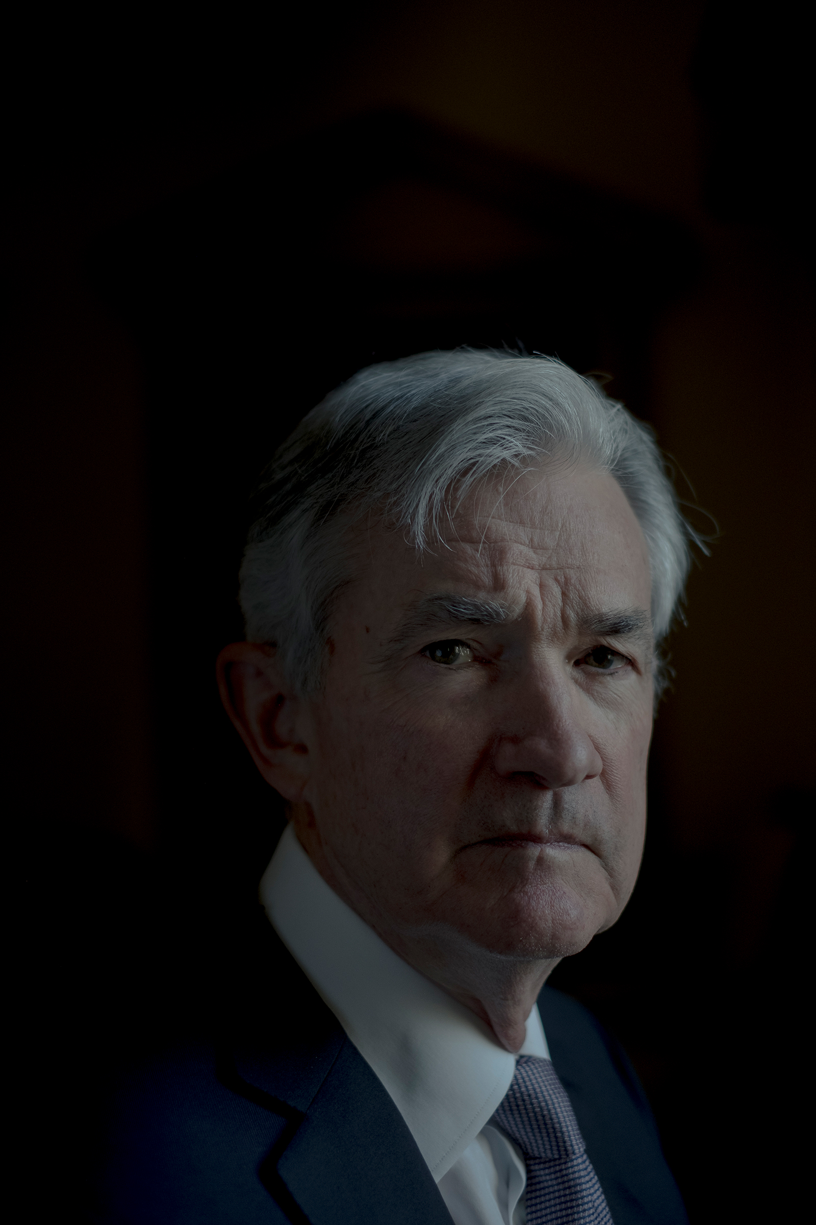 Powell in the boardroom at the Federal Reserve in Washington on May 13