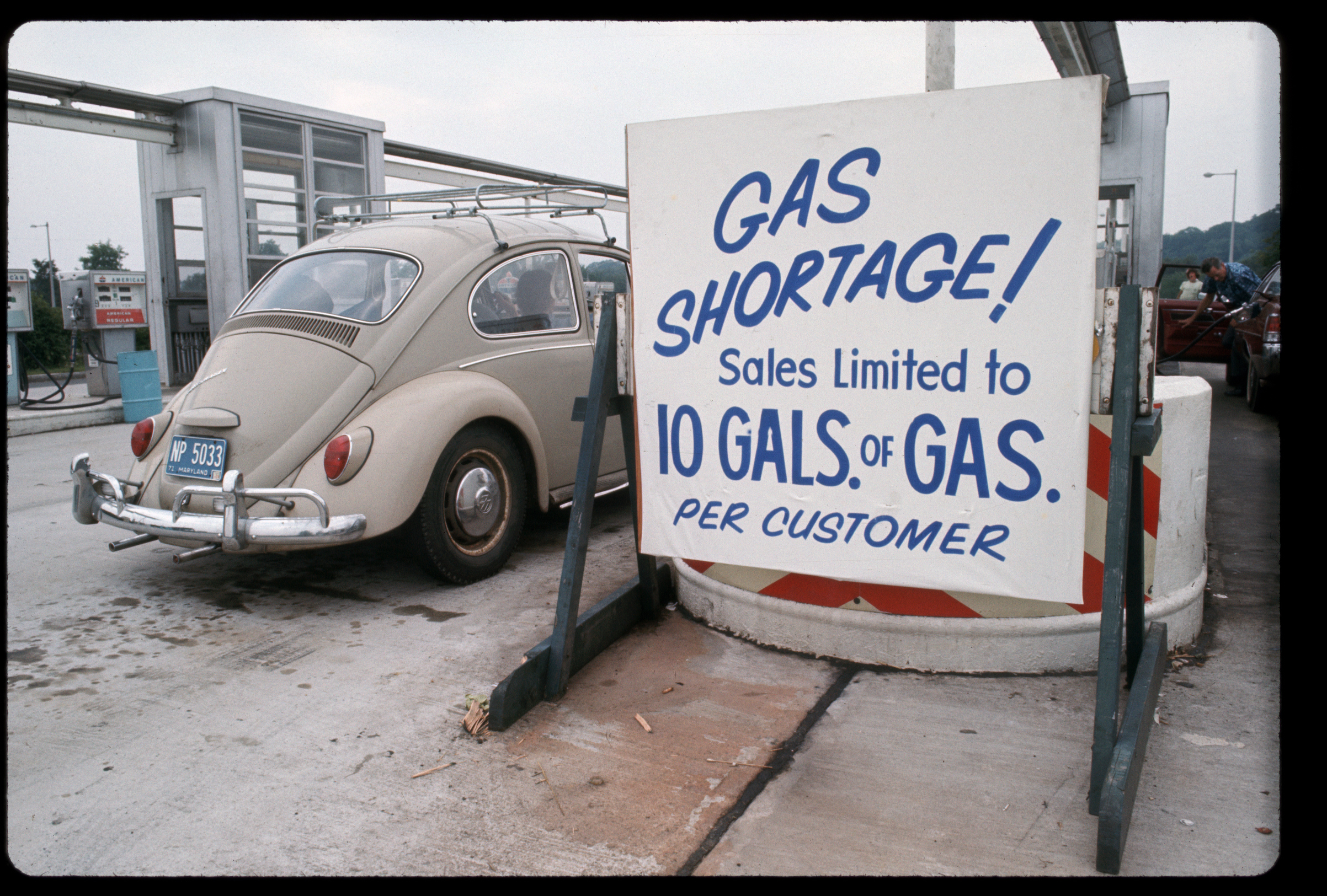 A sign at a gas station during the gasoline shortage and energy crisis of the 1970s