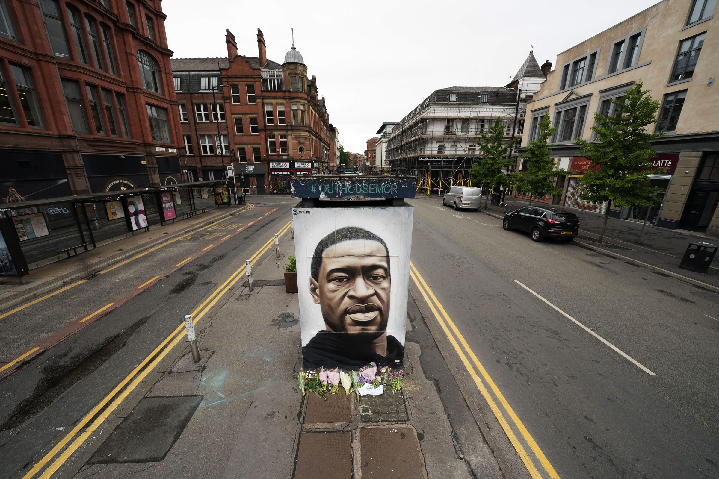 A mural of George Floyd in central Manchester, Britain on June 4, 2020.