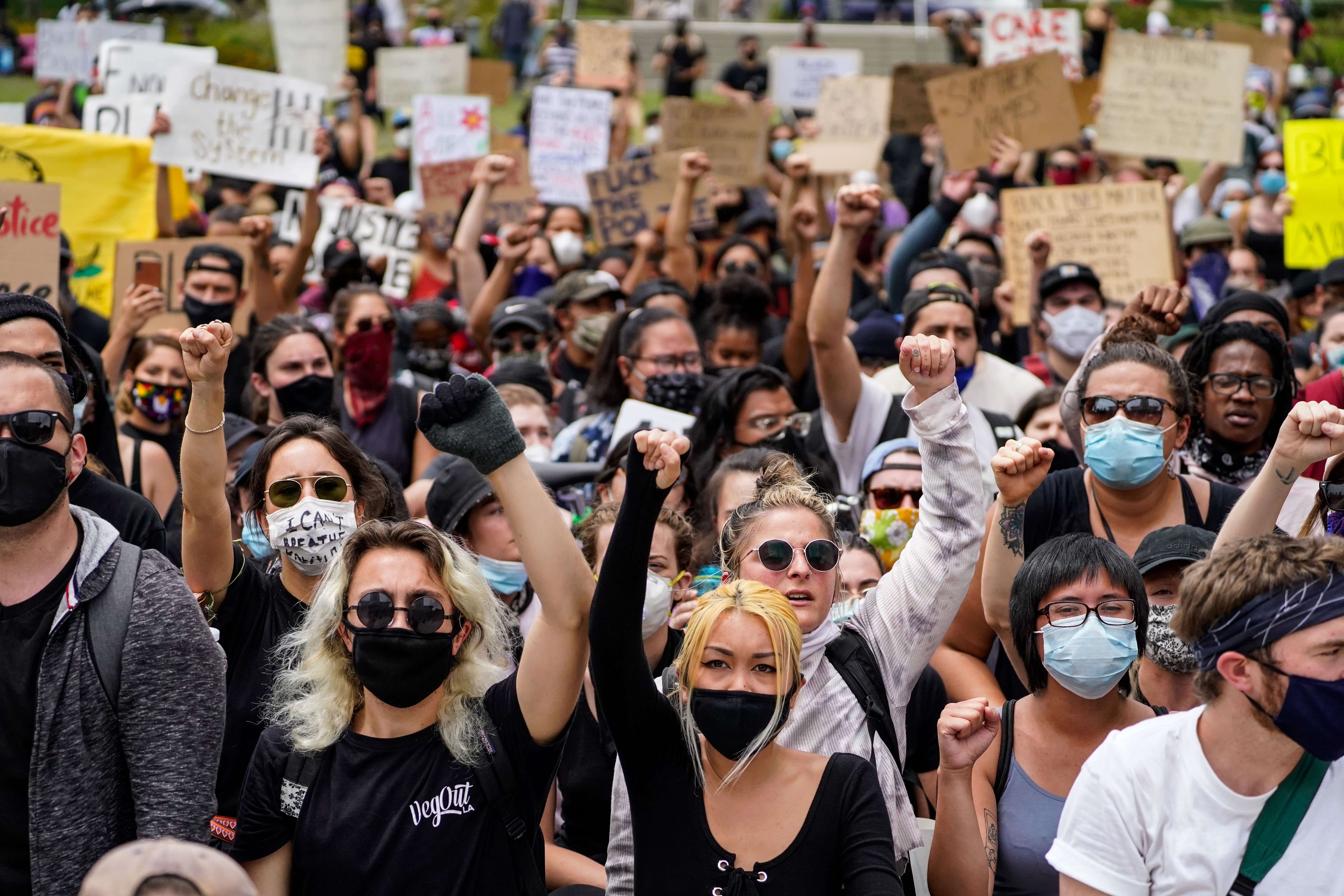 Demonstrators protest in downtown Los Angeles on June 2, 2020