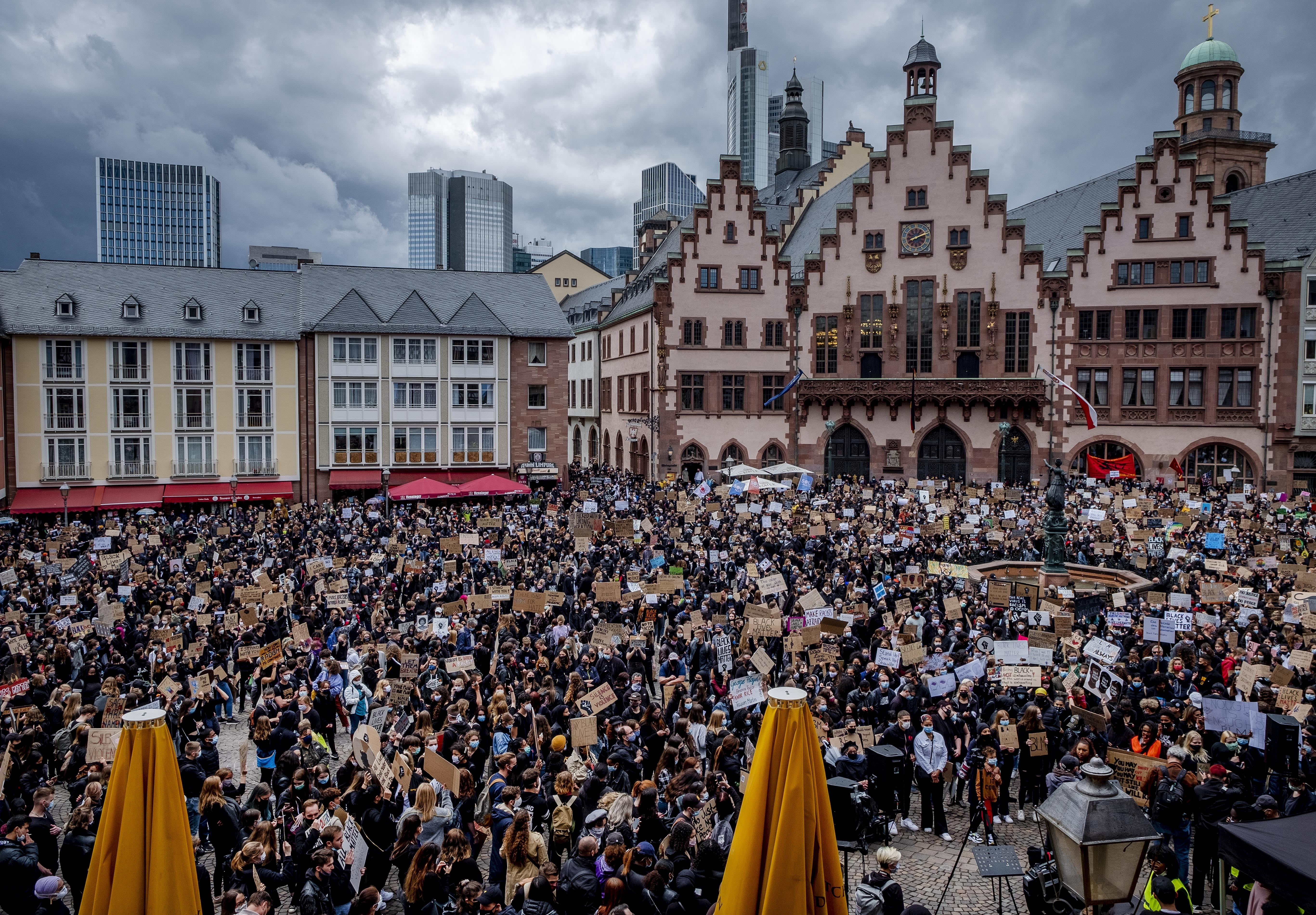 Hundreds of people attend a rally in Frankfurt, Germany, June 6, 2020, over the death of George Floyd, a black man who died after being restrained by Minneapolis police officers on May 25.