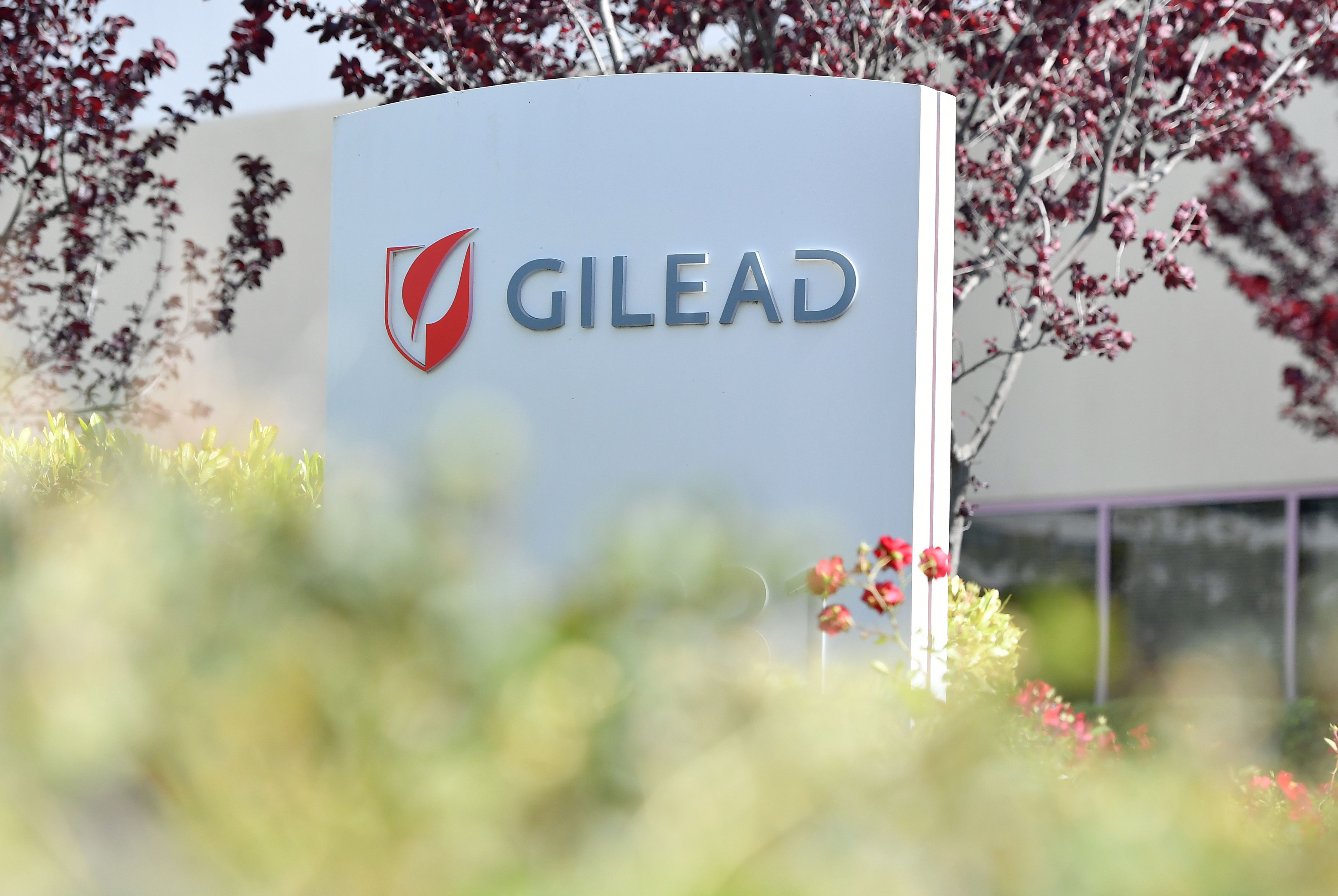 A Gilead Sciences sign is seen at the company's headquarters   in Foster City, California on April 30, 2020.